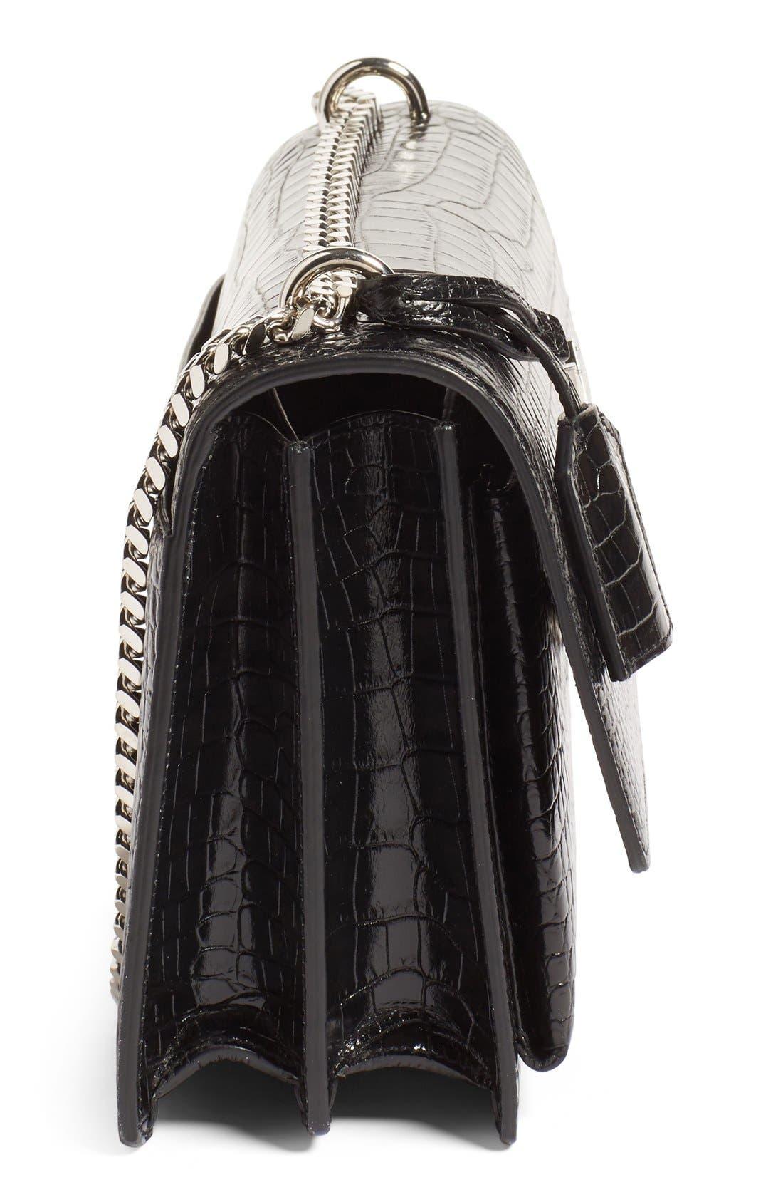 'Medium Monogram Sunset' Croc Embossed Leather Shoulder Bag,                             Alternate thumbnail 4, color,                             Nero