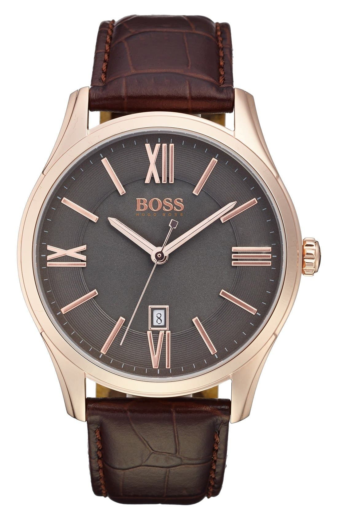 'Ambassador' Embossed Leather Strap Watch, 43mm,                             Main thumbnail 1, color,                             Grey/ Brown