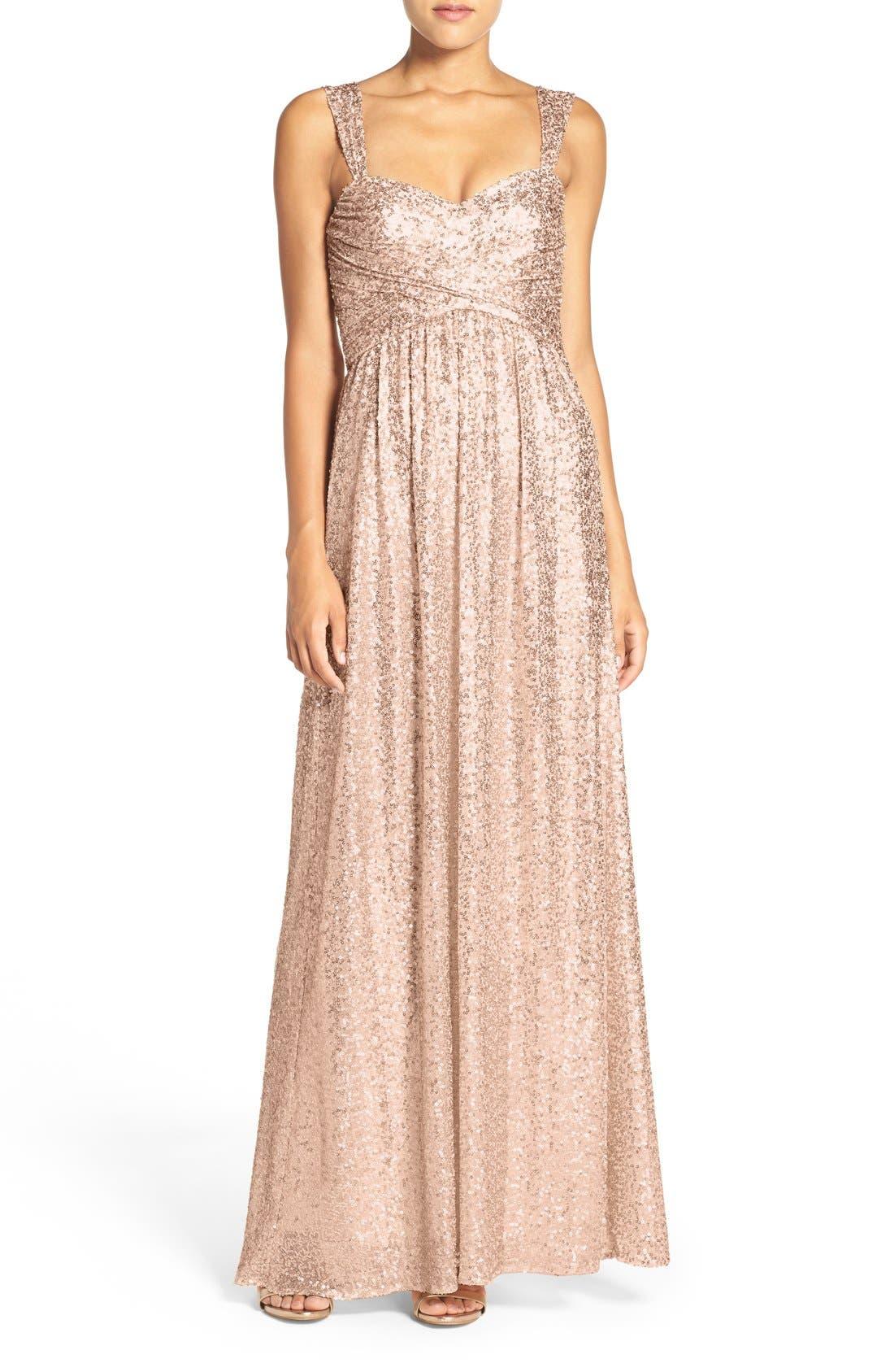 Main Image - Amsale 'Loire' Sweetheart Neck Sequin Gown