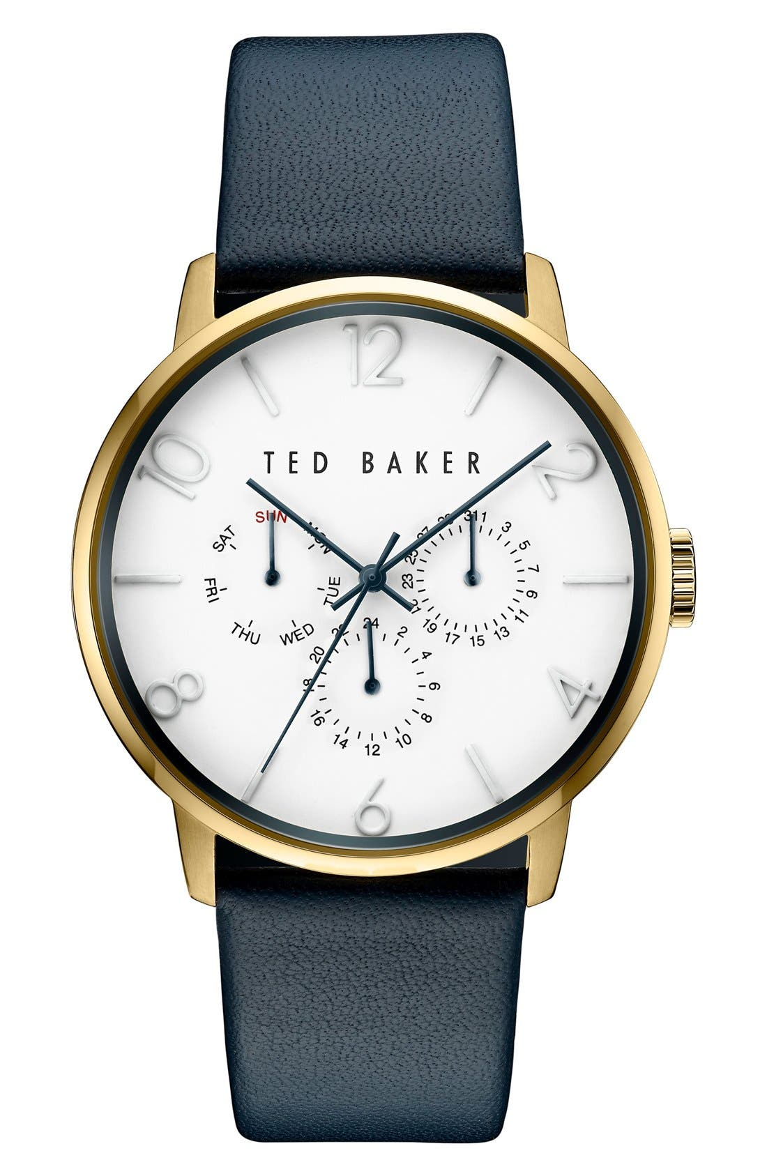 Ted Baker London Multifunction Leather Strap Watch, 42mm