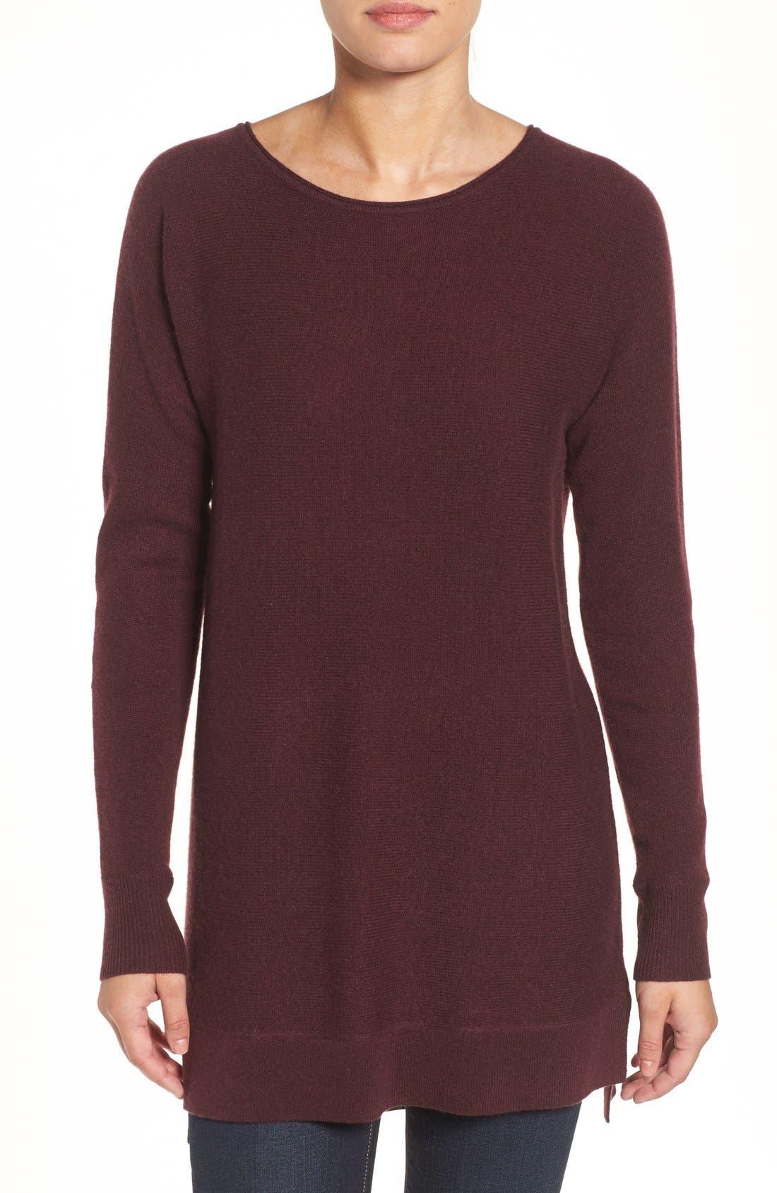 Halogen® High/Low Wool & Cashmere Tunic Sweater (Regular & Petite)