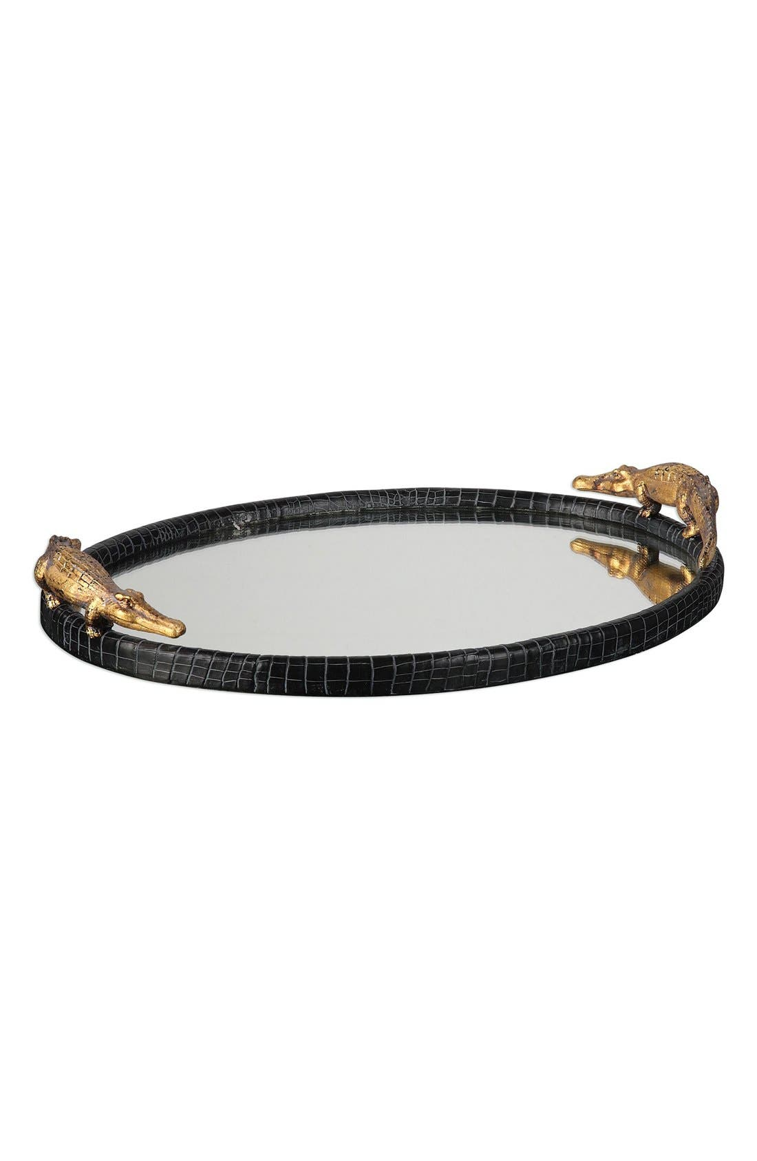 'Alligator' Mirrored Tray,                             Main thumbnail 1, color,                             Black