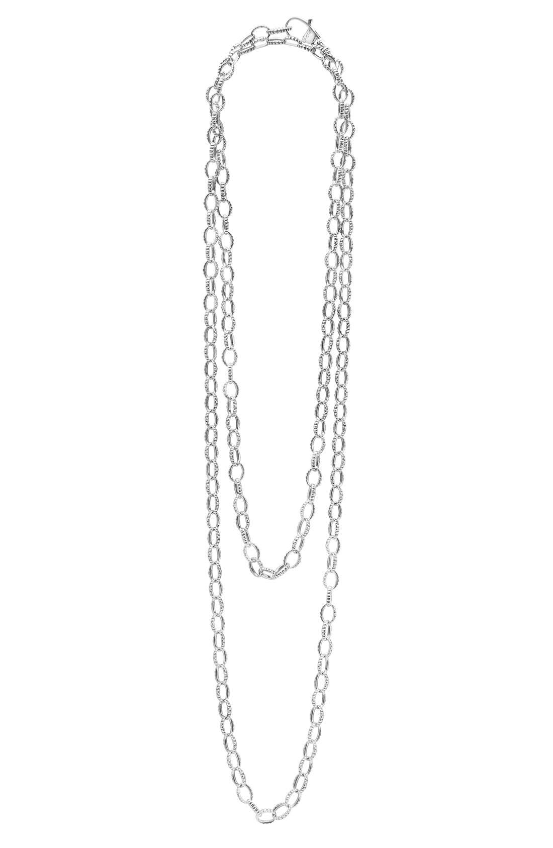 Long Link Necklace,                             Alternate thumbnail 3, color,                             Sterling Silver