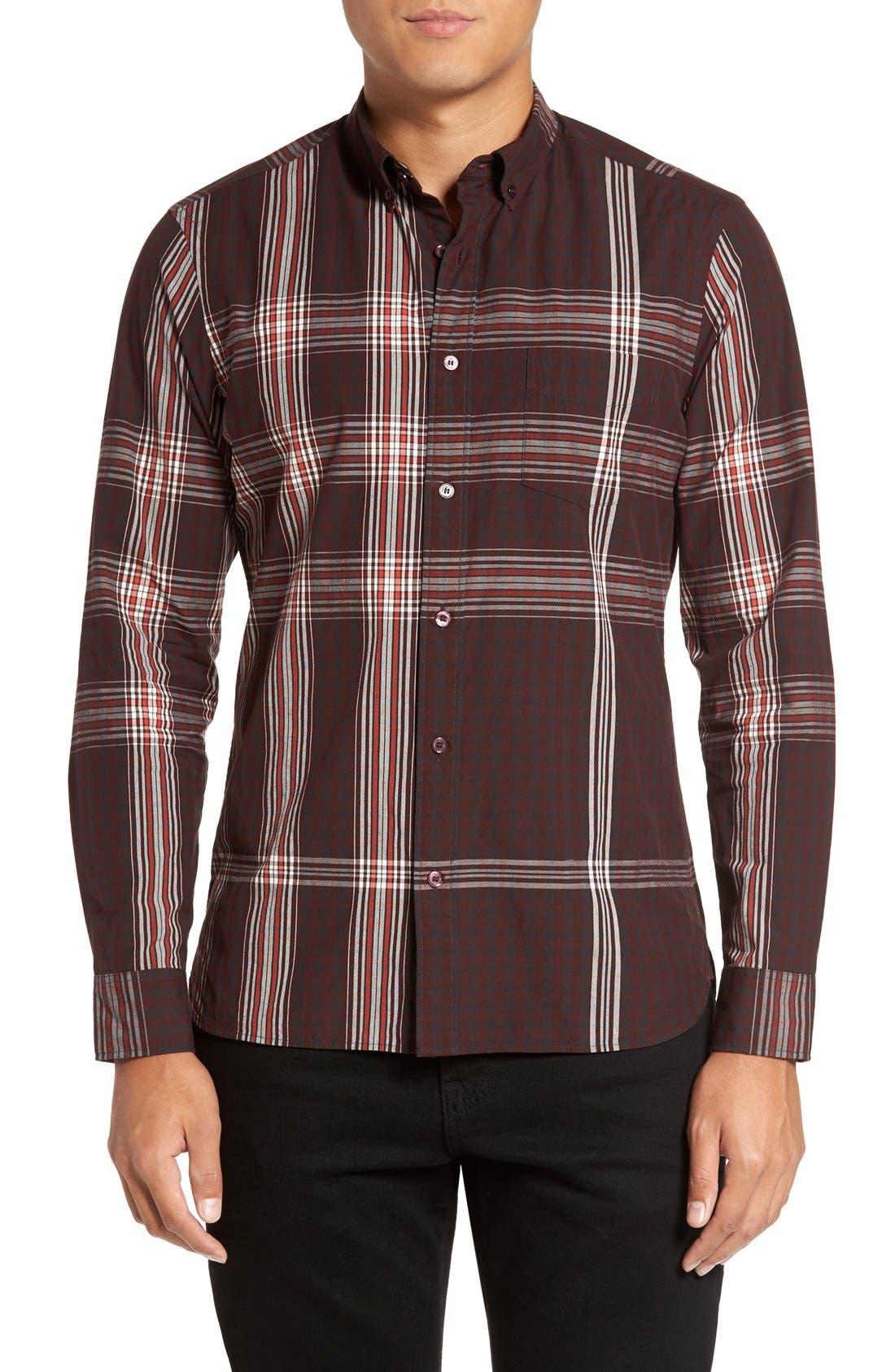 'Brit' Trim Fit Long Sleeve Sport Shirt,                         Main,                         color, Dark Elderberry