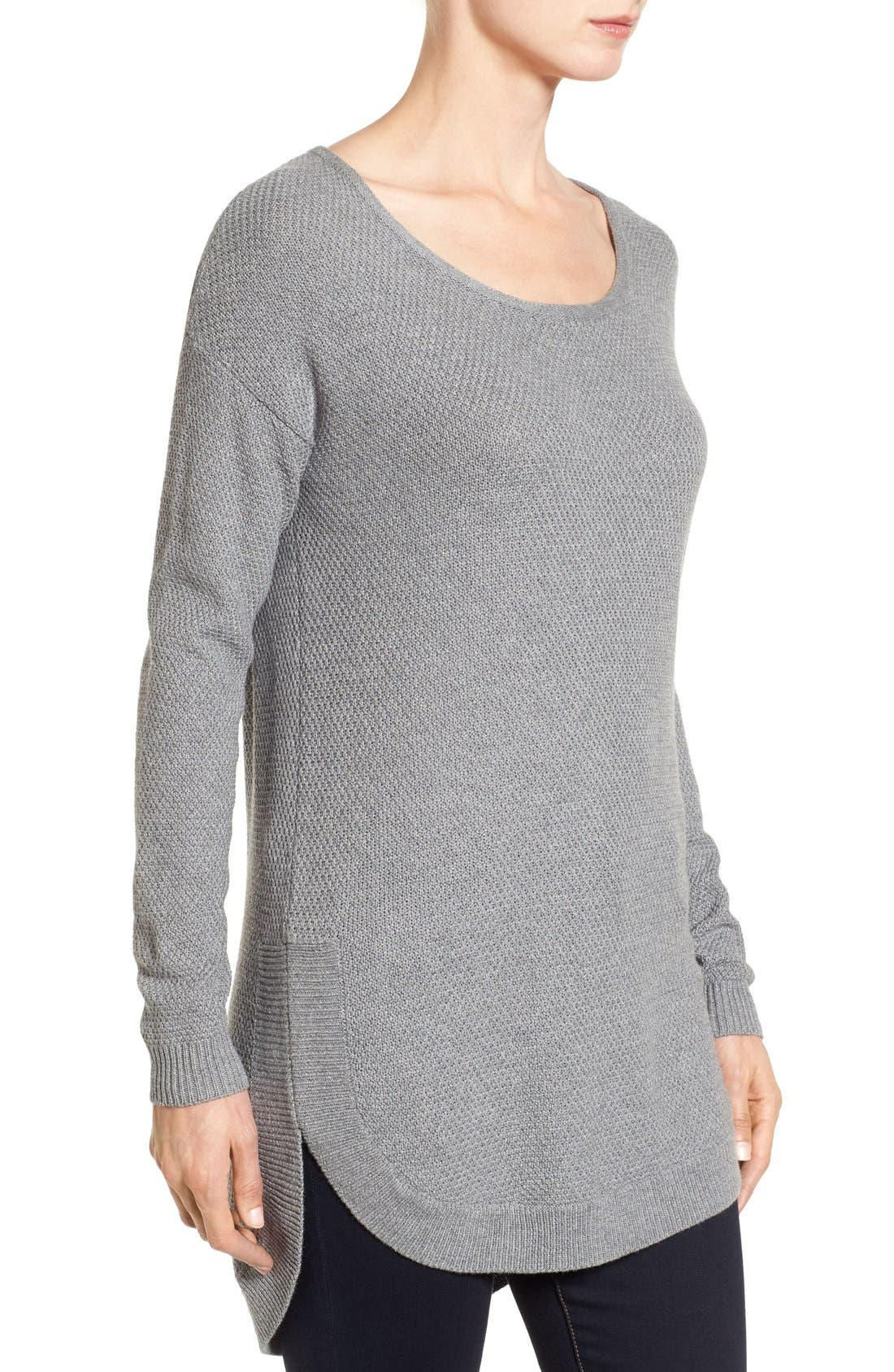 Texture Knit Tunic,                             Alternate thumbnail 3, color,                             Grey Texture Pattern