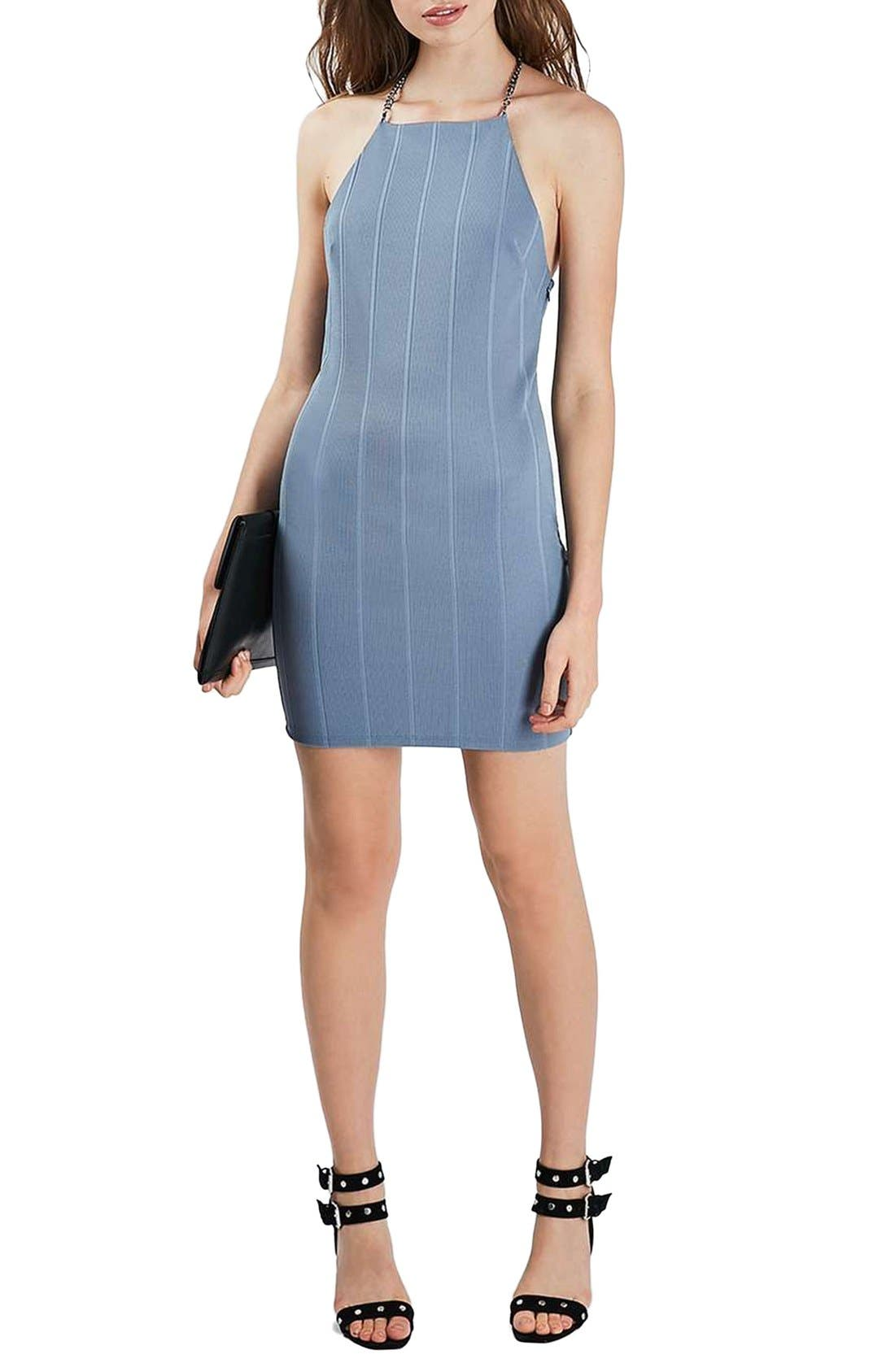 Alternate Image 1 Selected - Topshop Chain Strap Bandage Body-Con Dress