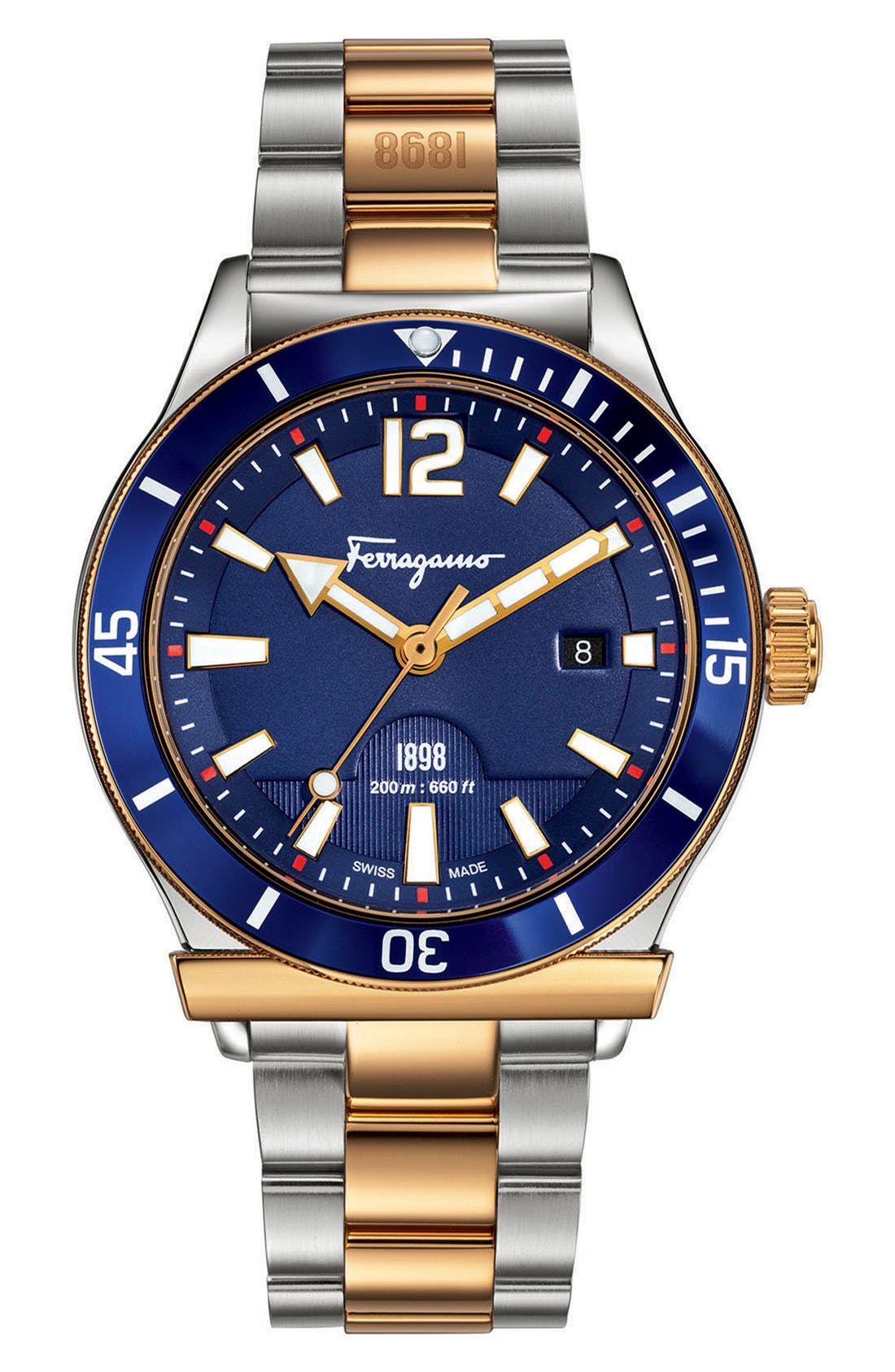 Salvatore Ferragamo '1898 Sport' Bracelet Watch, 43mm