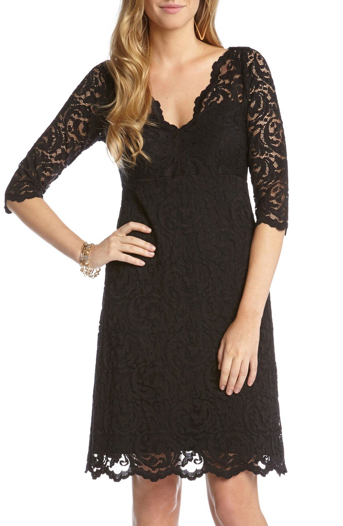 Scalloped Lace V-Neck Dress,                             Main thumbnail 1, color,                             Black