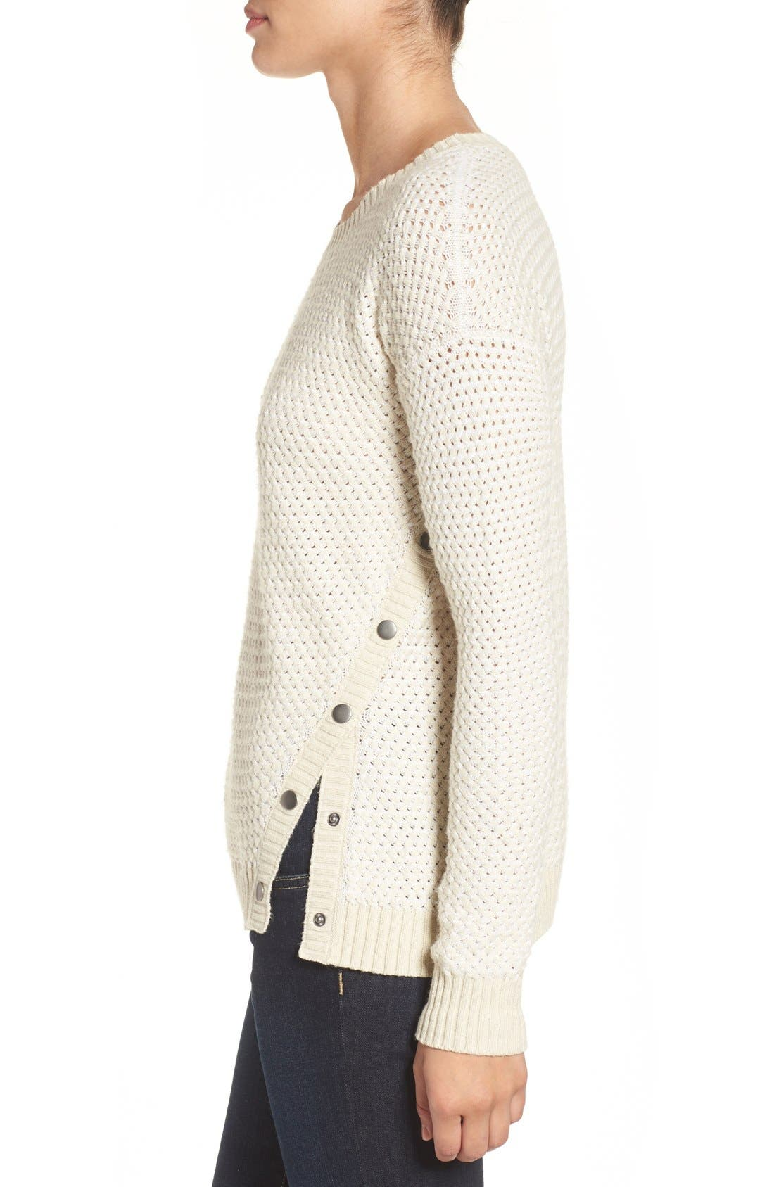 Side Snap Sweater,                             Alternate thumbnail 4, color,                             Beige- White Pattern