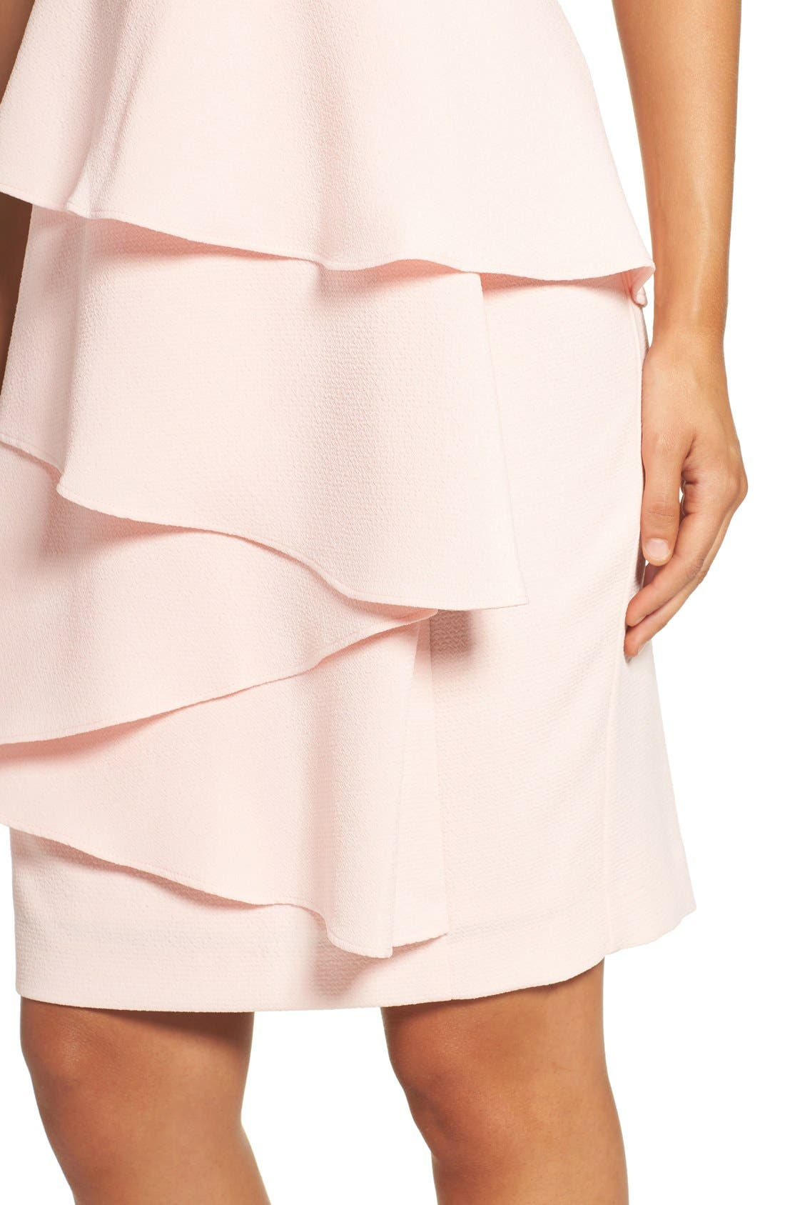 Ella Cascade Crepe Sheath Dress,                             Alternate thumbnail 6, color,                             Blush