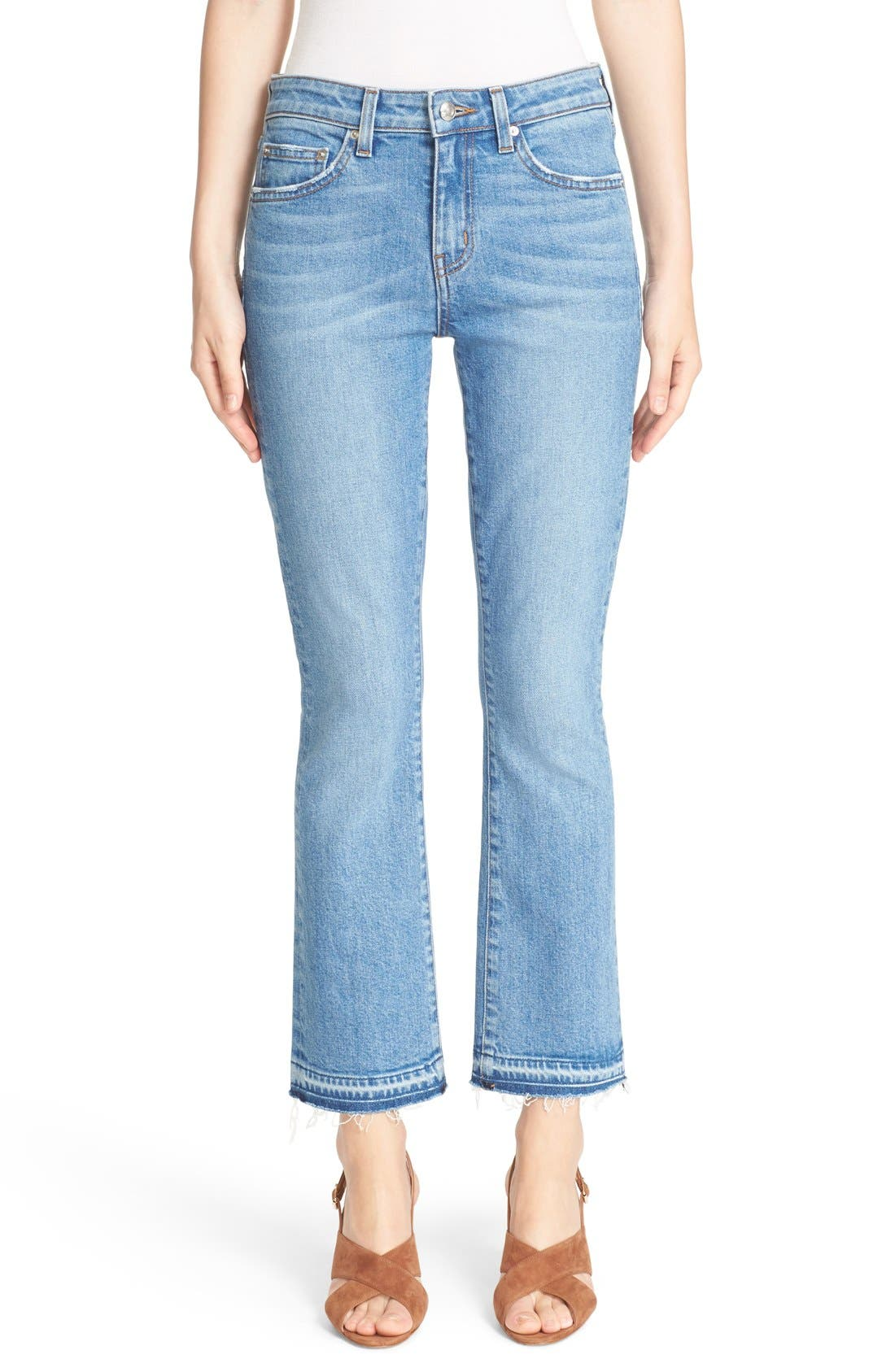 'Gia' Crop Flare Jeans,                         Main,                         color, Light Wash