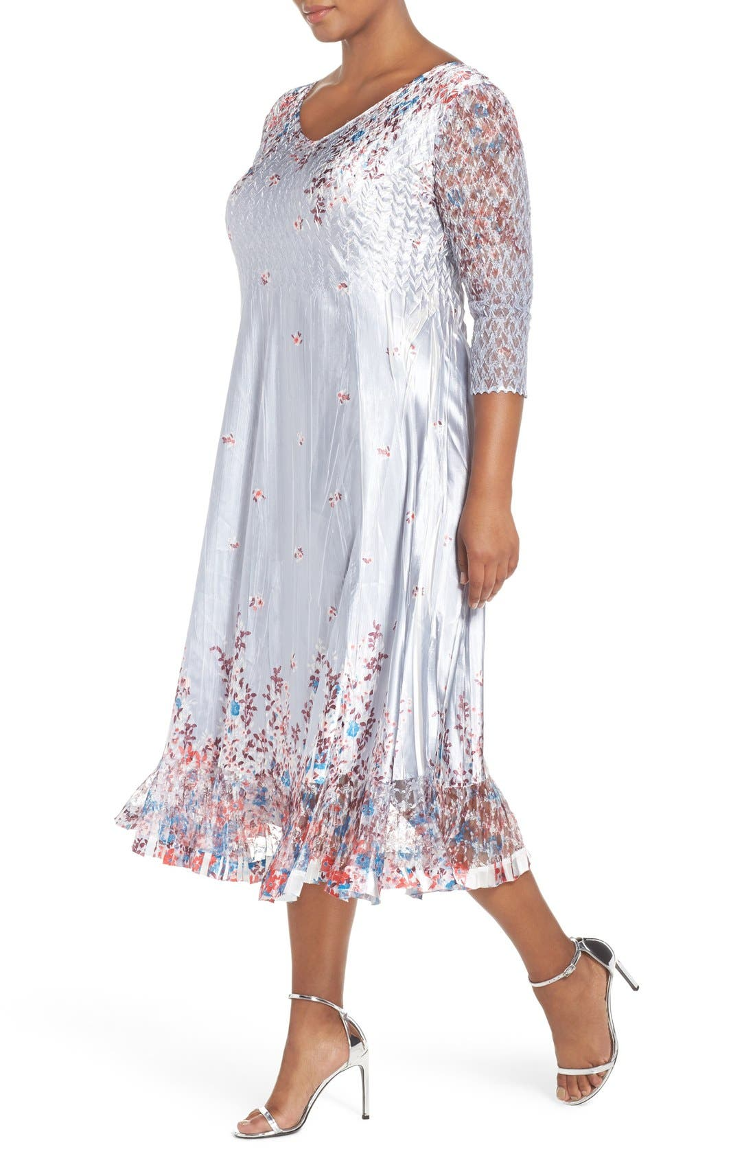 Print Lace & Charmeuse V-Neck Dress,                             Alternate thumbnail 4, color,                             Wild Aster
