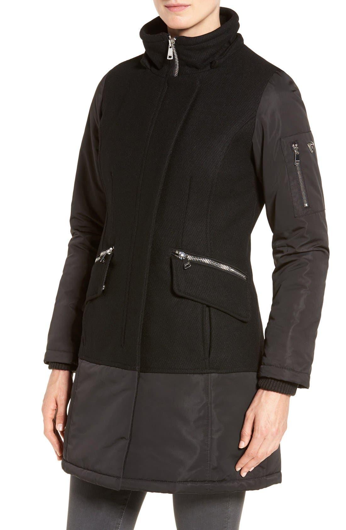 Alternate Image 4  - 1 Madison Faux Fur Trim Mixed Media Drop Waist Coat
