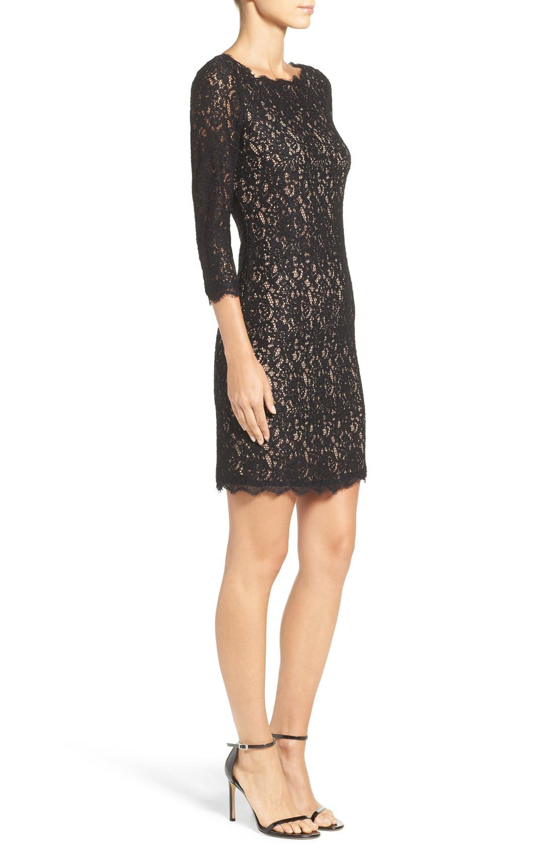 Alternate Image 3  - Adrianna Papell Lace Overlay Sheath Dress (Regular & Petite)