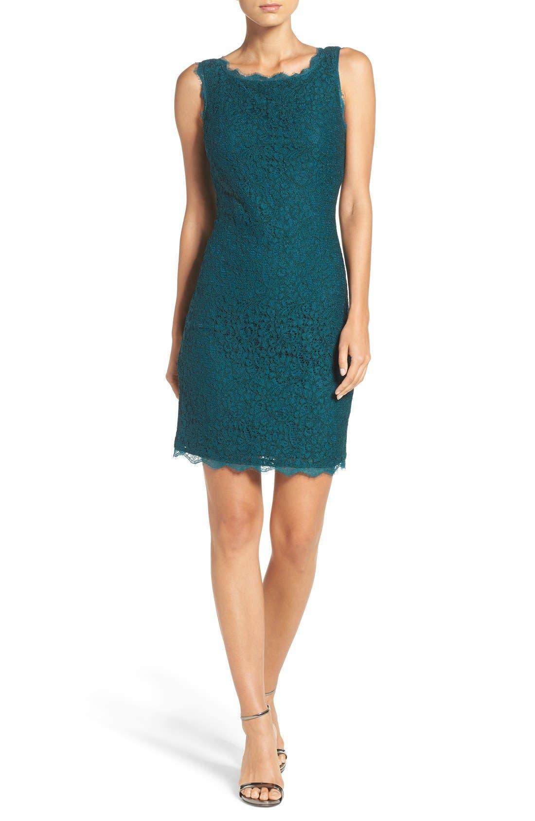Boatneck Lace Sheath Dress,                             Alternate thumbnail 2, color,                             Hunter
