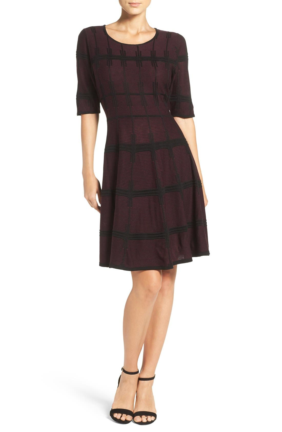 Alternate Image 4  - Ivanka Trump Plaid Sweater Knit Fit & Flare Dress