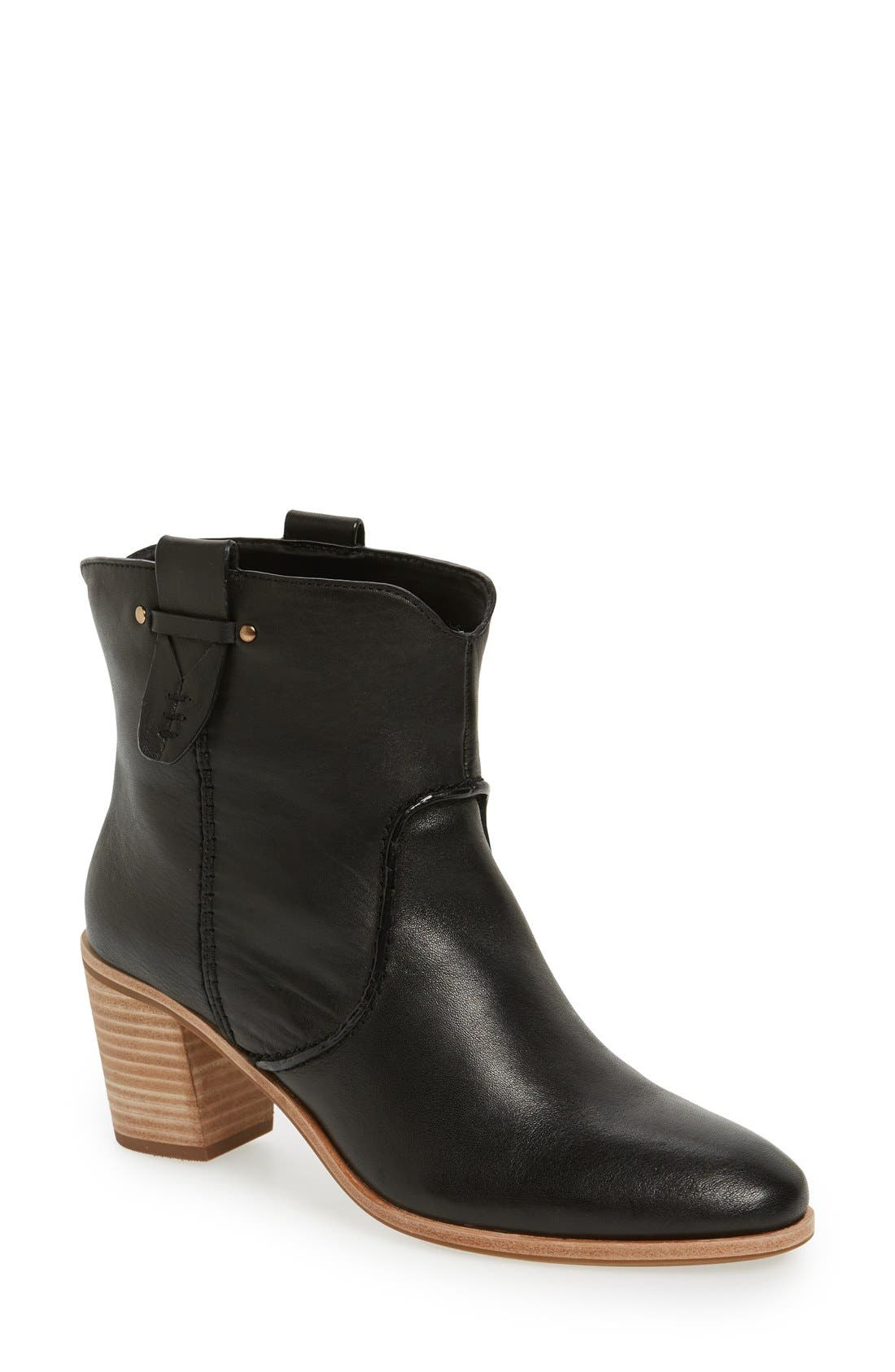 'Sophia' Pull-On Bootie,                             Main thumbnail 1, color,                             Black Leather