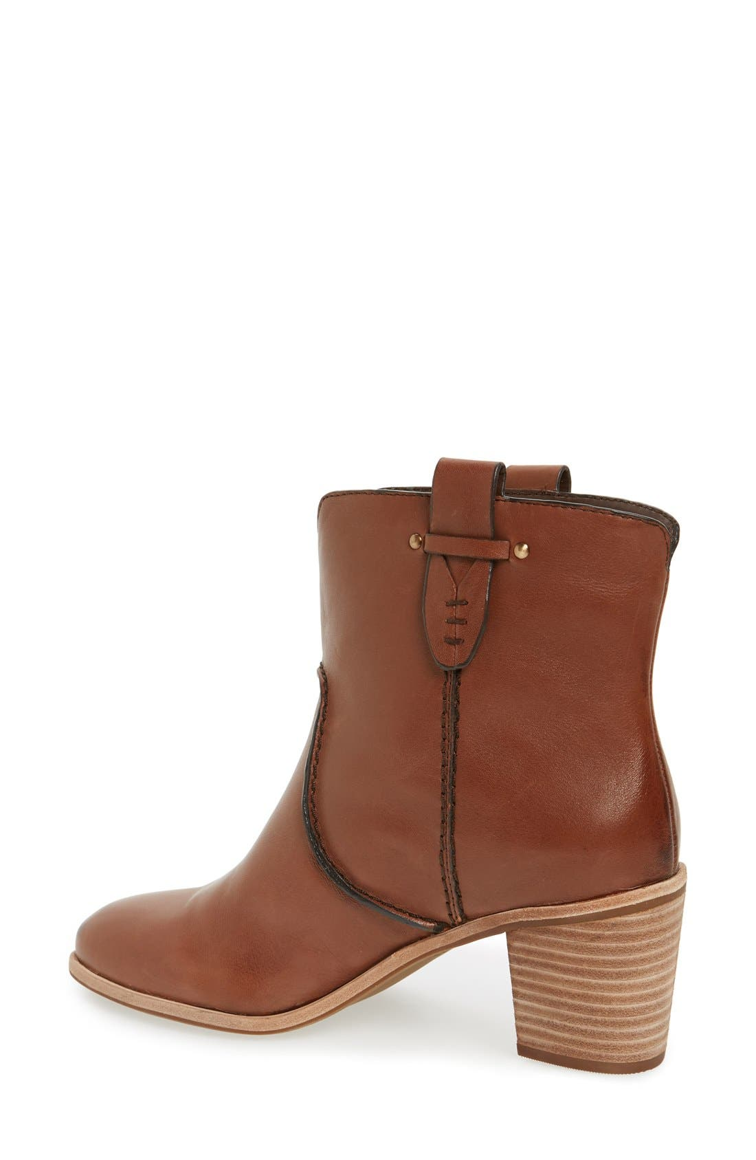 'Sophia' Pull-On Bootie,                             Alternate thumbnail 2, color,                             Whiskey Leather