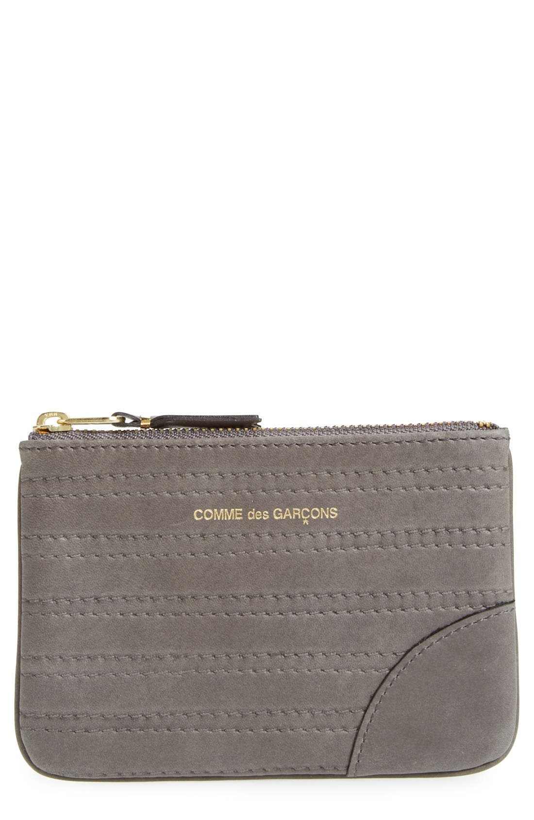 Embossed Leather Top Zip Pouch Wallet,                             Main thumbnail 1, color,                             Grey