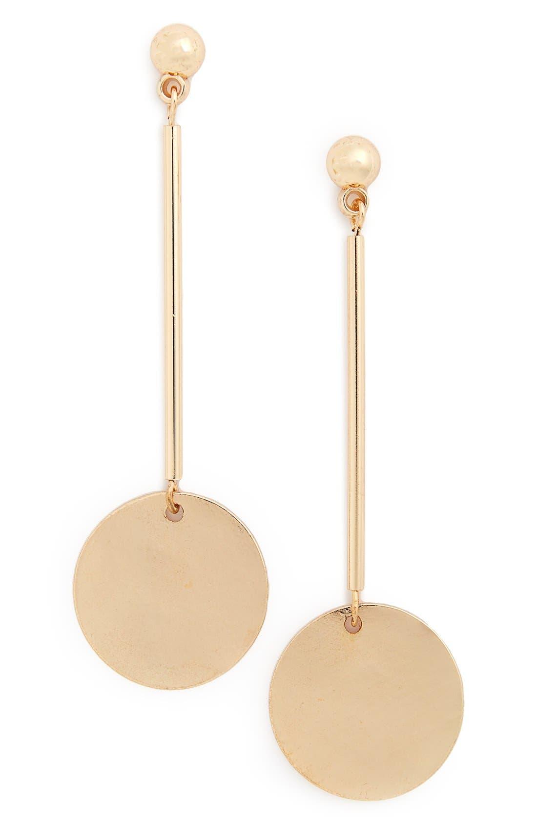 Circle Drop Earrings,                         Main,                         color, Gold