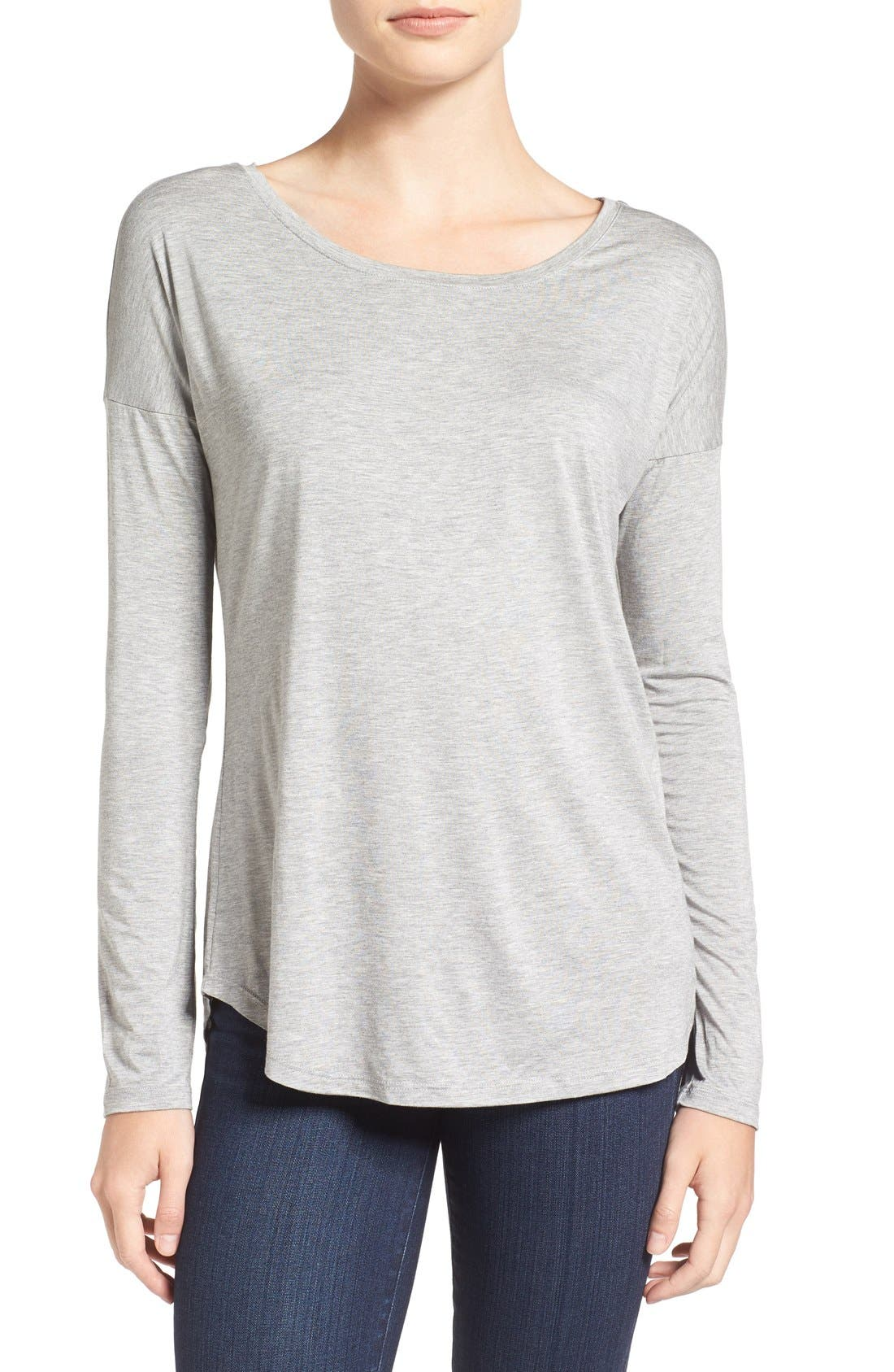 'Bess' Stretch Jersey Boatneck Tee,                         Main,                         color, Light Heather Grey