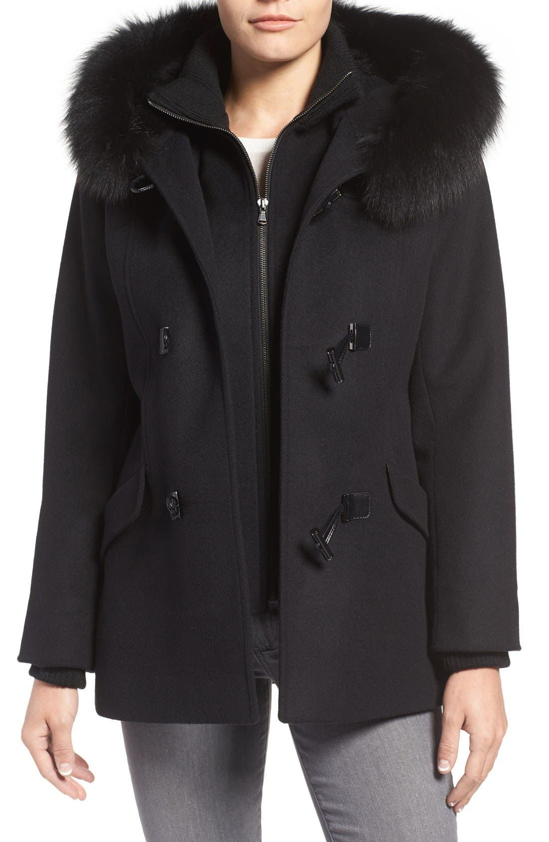 Wool Blend Duffle Coat with Genuine Fox Fur Trim,                             Main thumbnail 1, color,                             Black