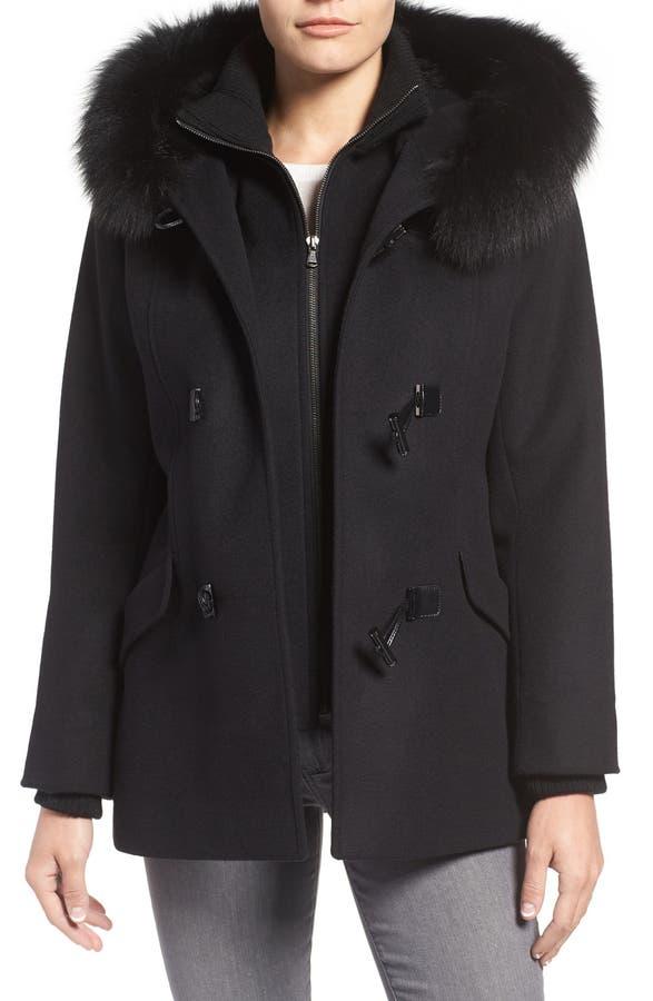George Simonton Wool Blend Duffle Coat with Genuine Fox Fur Trim ...