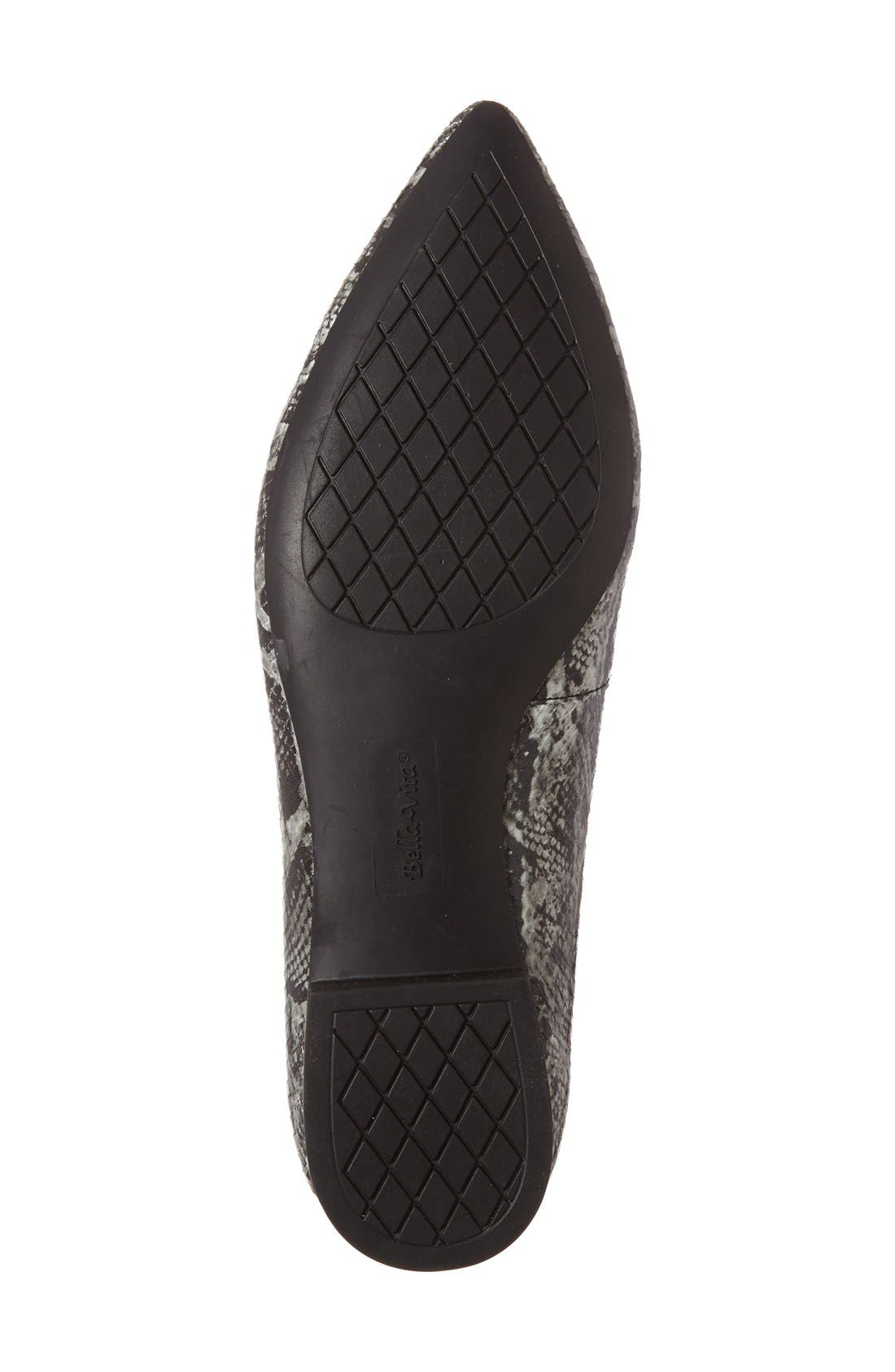 'Vivien' Pointy Toe Flat,                             Alternate thumbnail 4, color,                             Black/ White Snake Print
