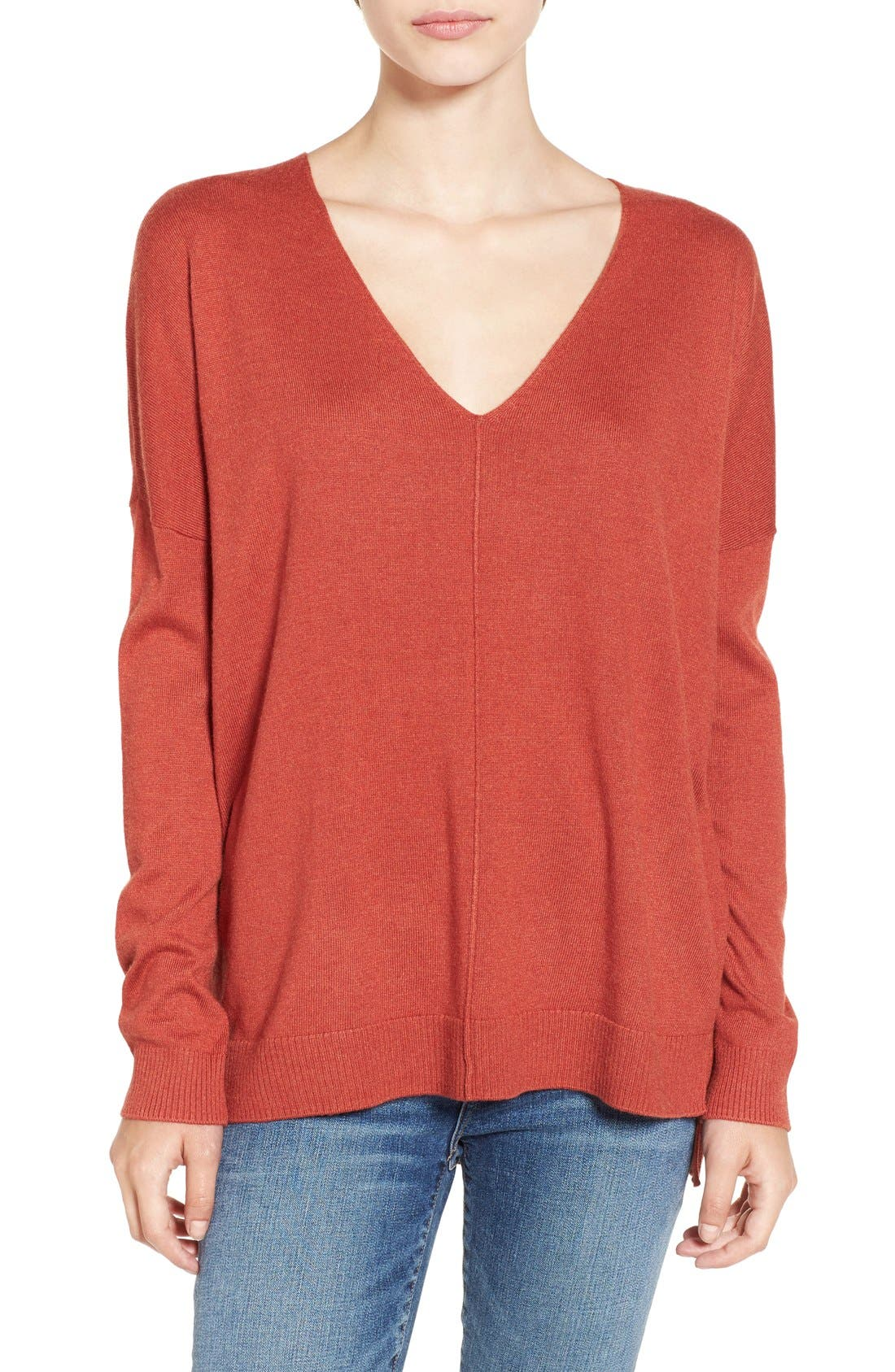 V-Neck Sweater,                         Main,                         color, Rust Adobe Heather