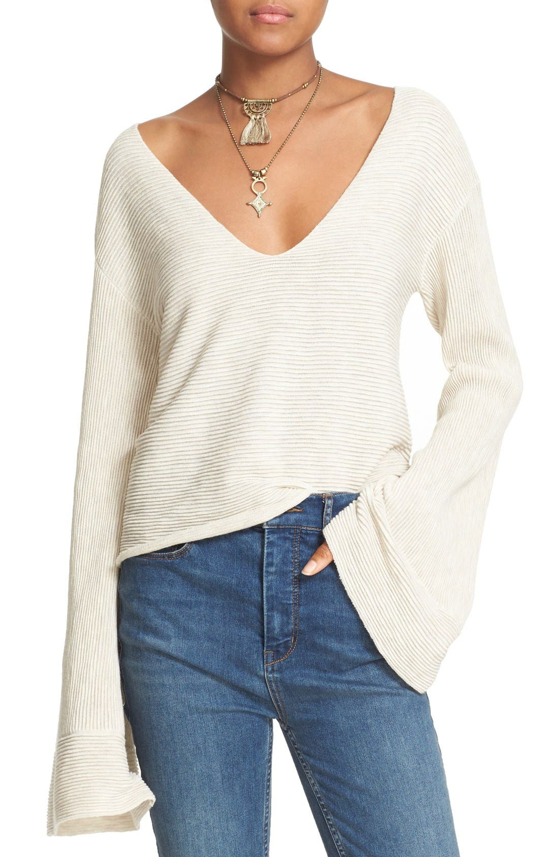 'Starman' Rib Knit Pullover,                         Main,                         color, Ivory