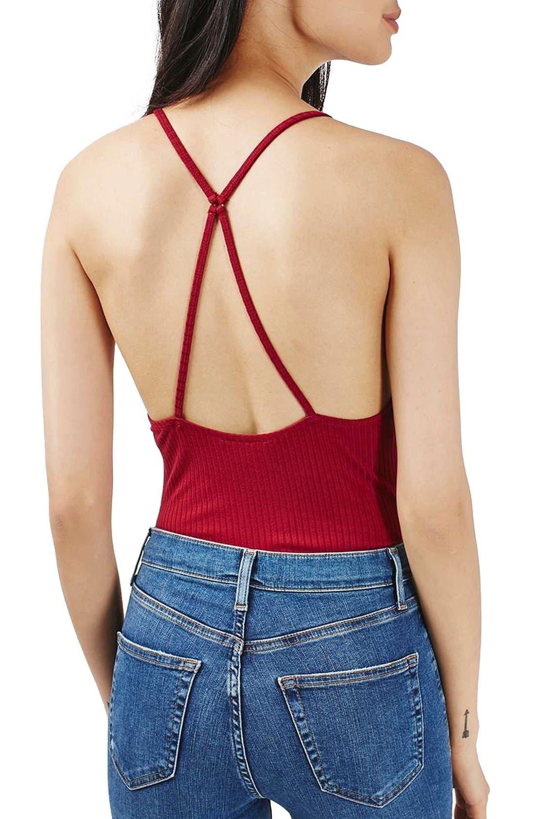 Alternate Image 2  - Topshp Cross Back Plunge Bodysuit (Petite)