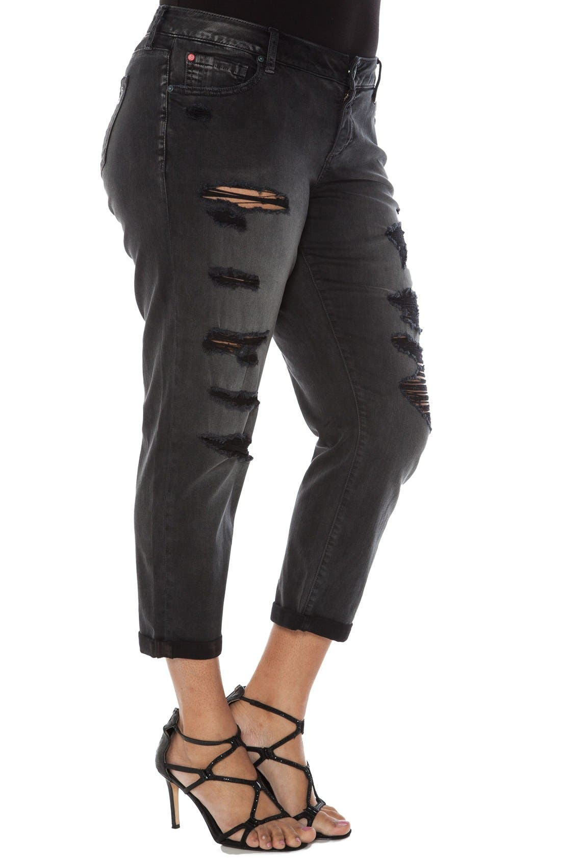Distressed Roll Cuff Stretch Boyfriend Jeans,                             Alternate thumbnail 3, color,                             Emily