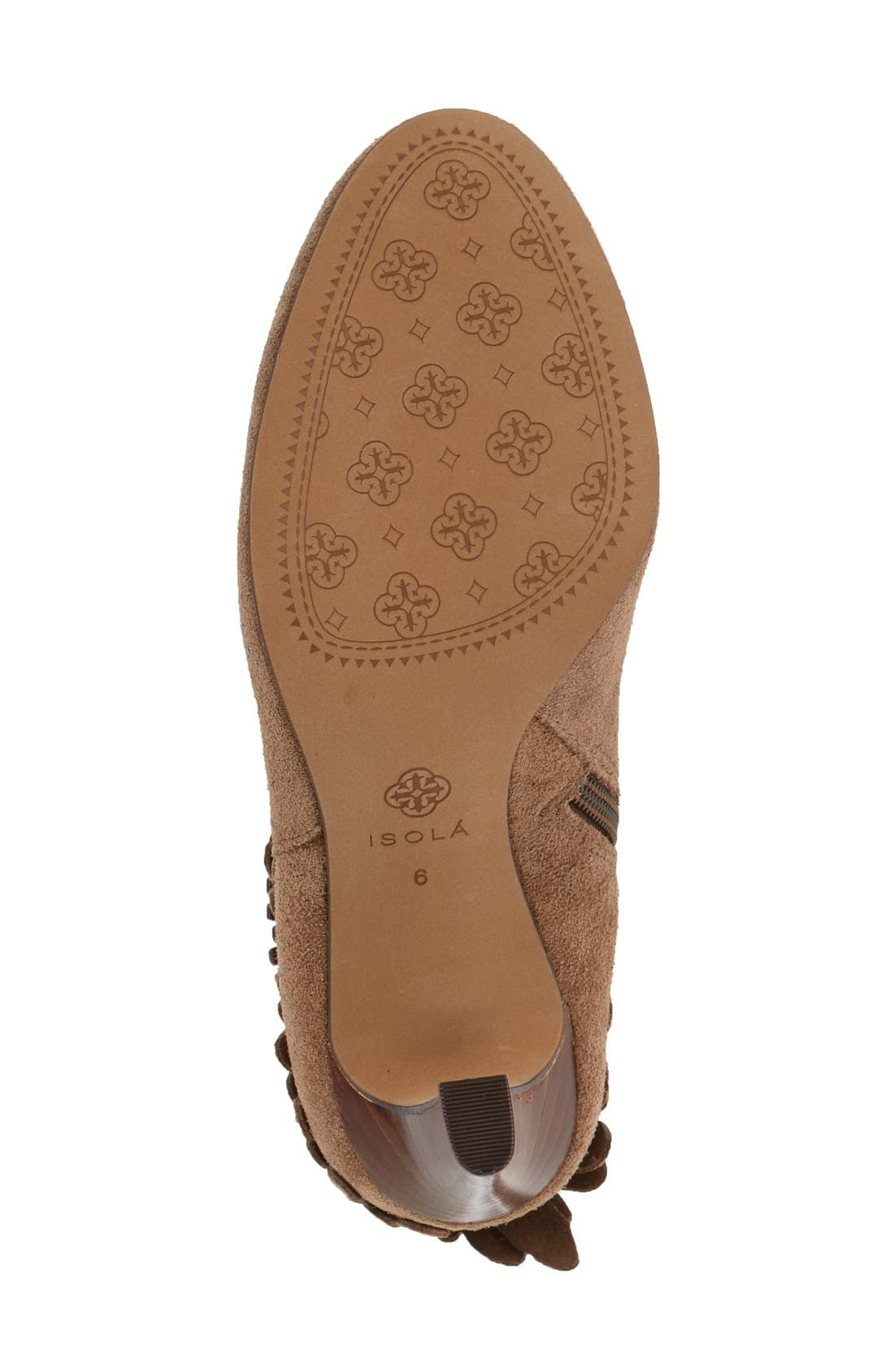 'Layton' Fringe Bootie,                             Alternate thumbnail 4, color,                             Havana Brown Suede
