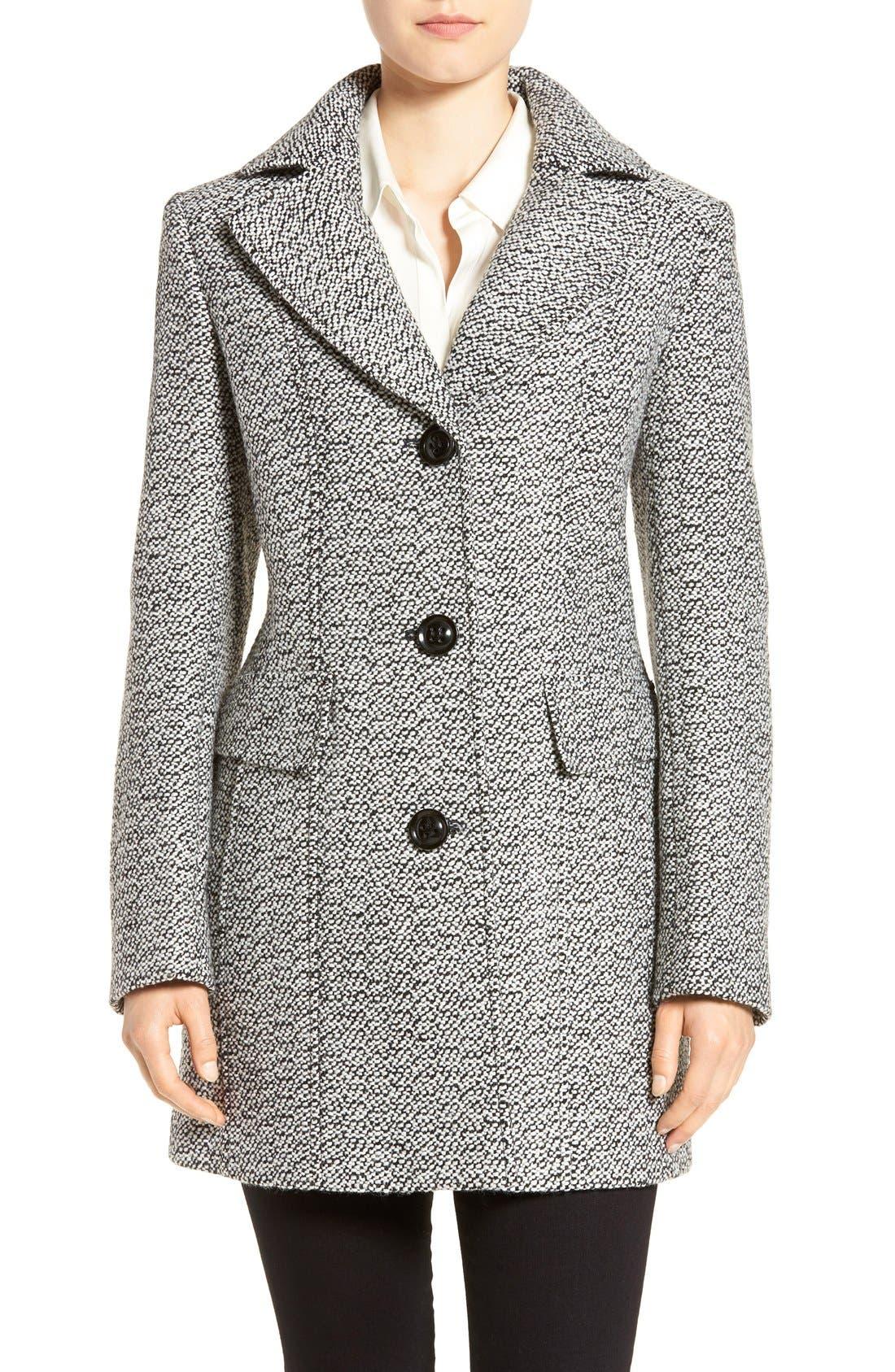 Notch Collar Tweed Coat,                         Main,                         color, White/ Black