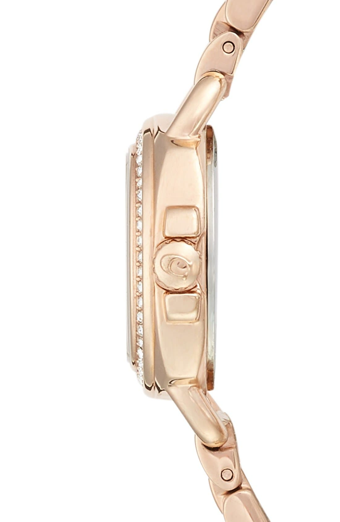 'Tatum' Crystal Bezel Bracelet Watch, 24mm,                             Alternate thumbnail 3, color,                             Rose Gold/ Silver