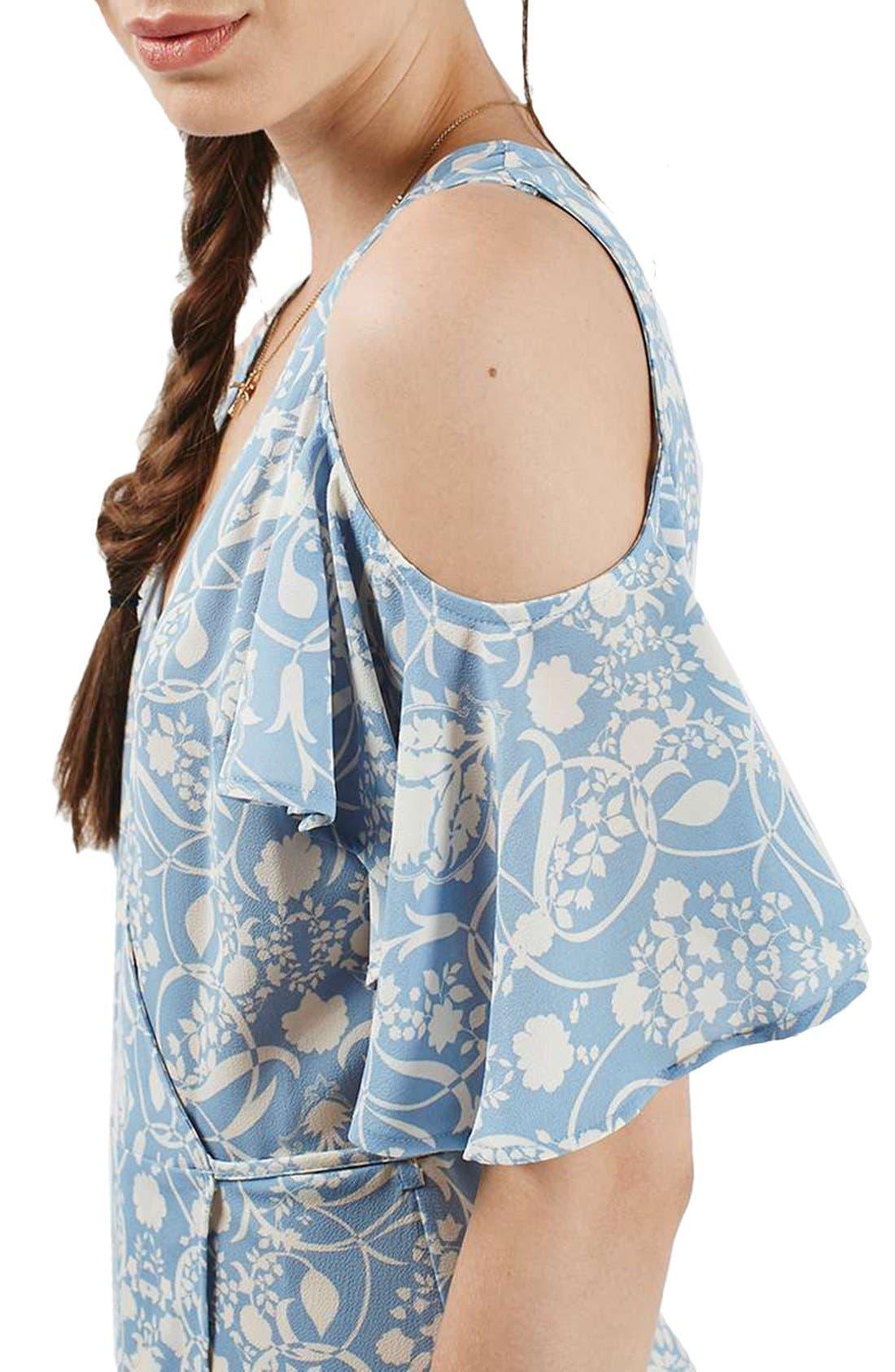 Alternate Image 5  - Topshop Floral Print Cold Shoulder Wrap Dress
