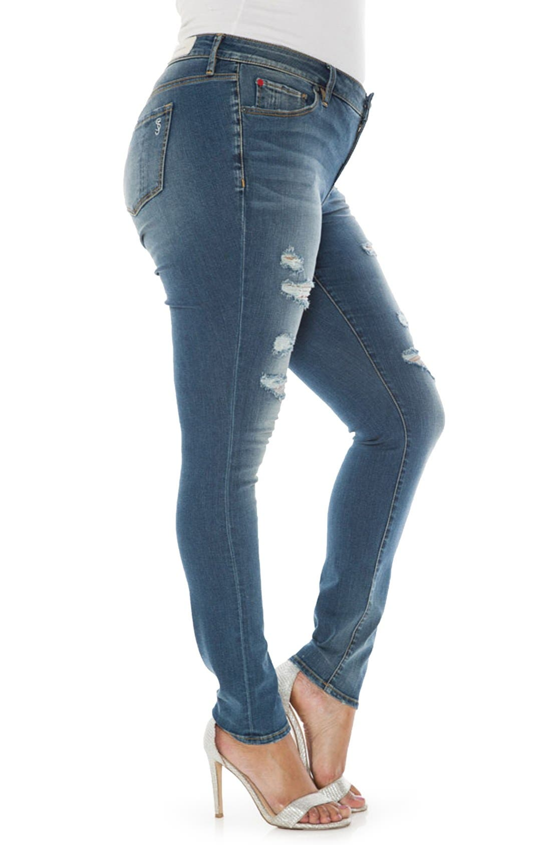 Alternate Image 3  - SLINK Jeans Ripped Stretch Skinny Jeans (Plus Size)