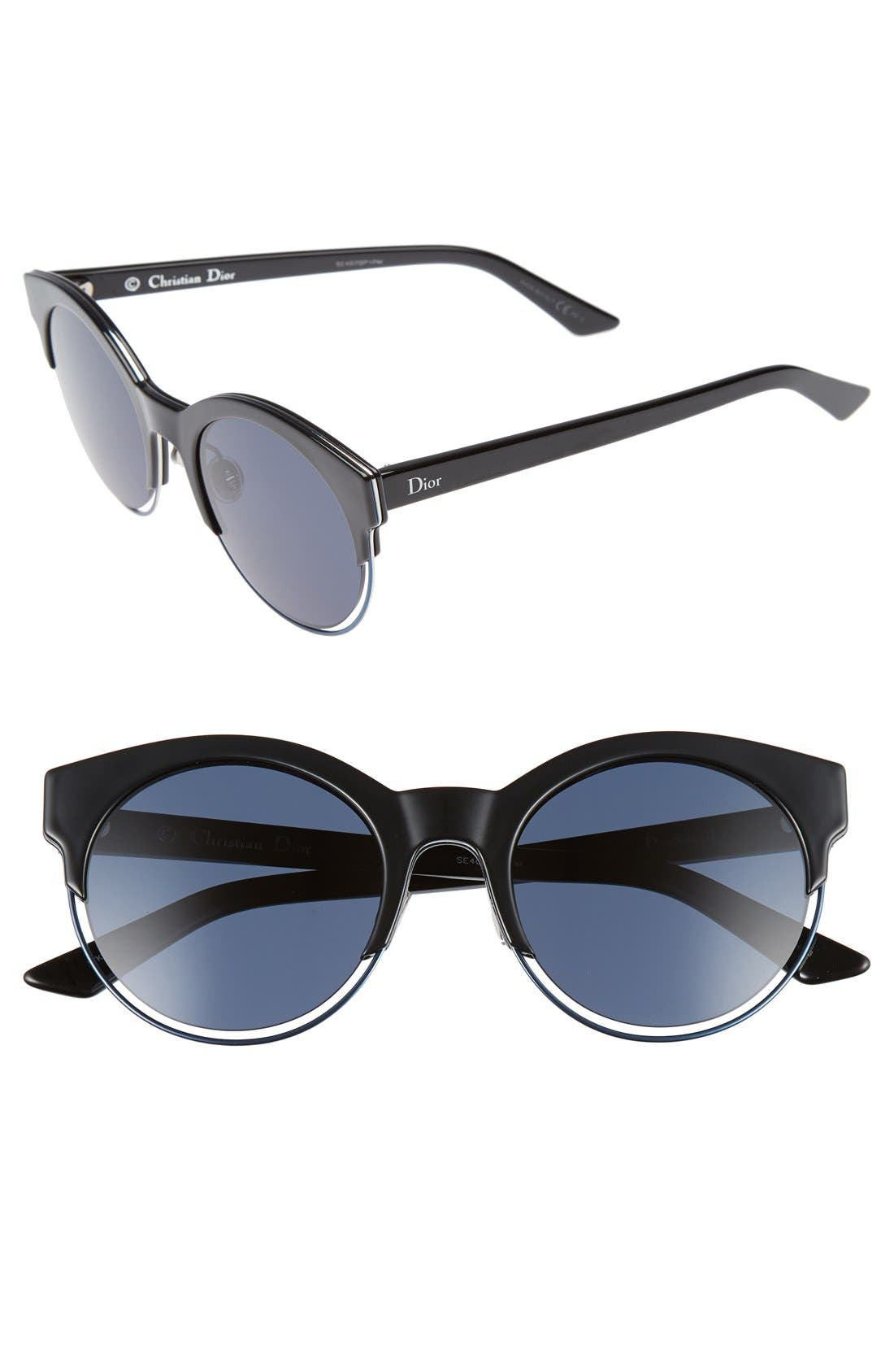 Siderall 1 53mm Round Sunglasses,                             Main thumbnail 1, color,                             Black/ Blue