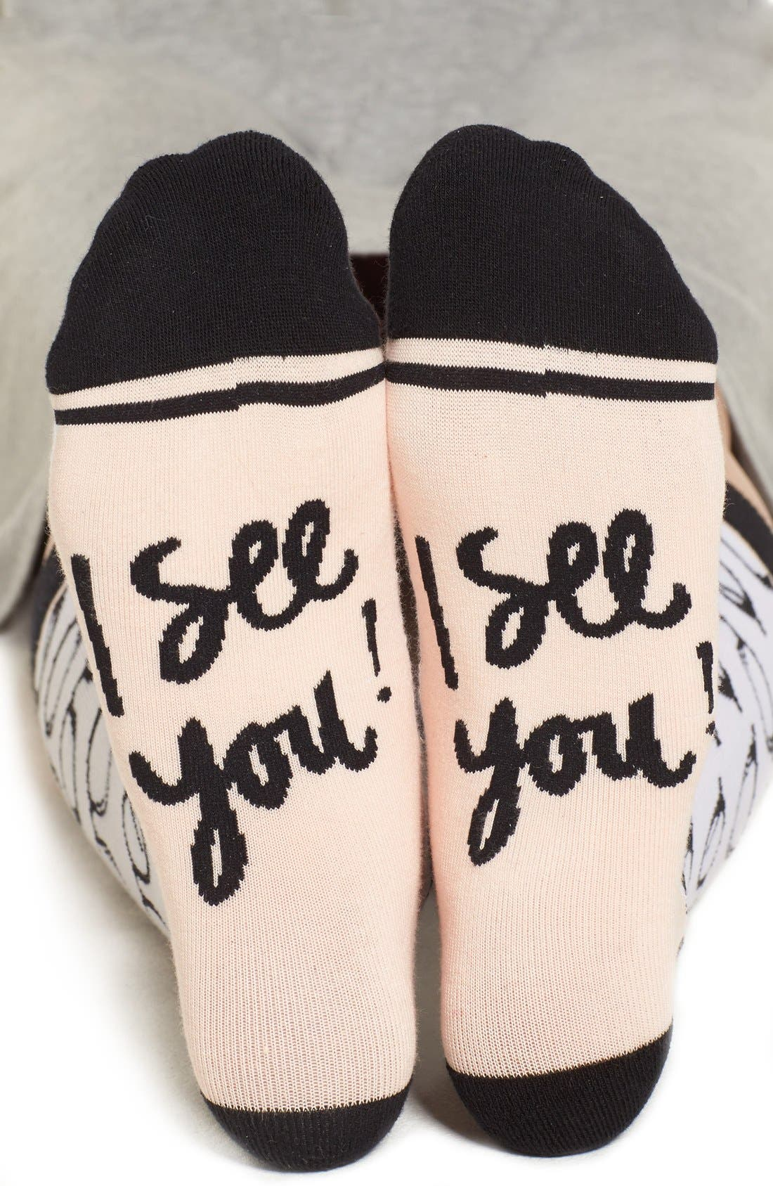 Alternate Image 2  - Woven Pear 'I See You' Crew Socks