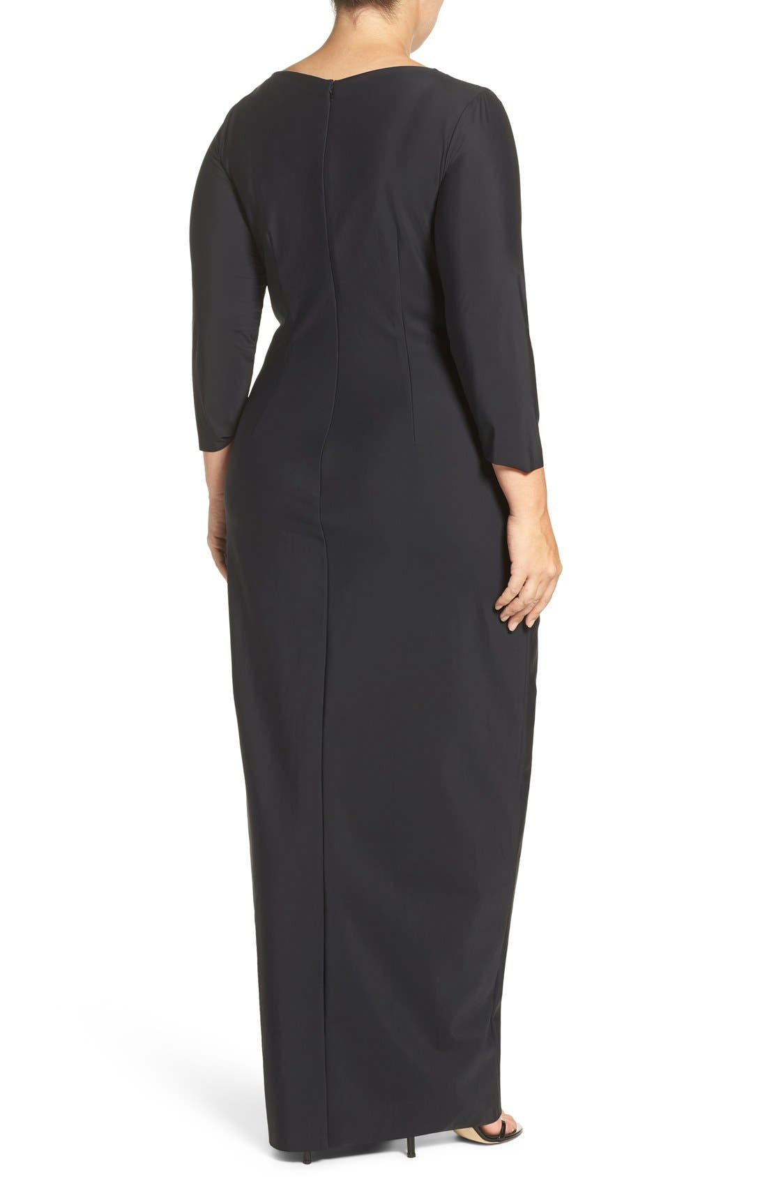 Alternate Image 2  - Alex Evenings Embellished Side Ruched Jersey Gown (Plus Size)