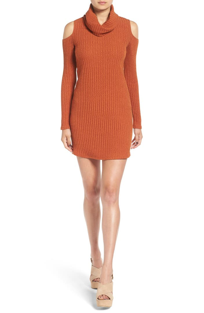 socialite cold shoulder rib knit dress nordstrom. Black Bedroom Furniture Sets. Home Design Ideas