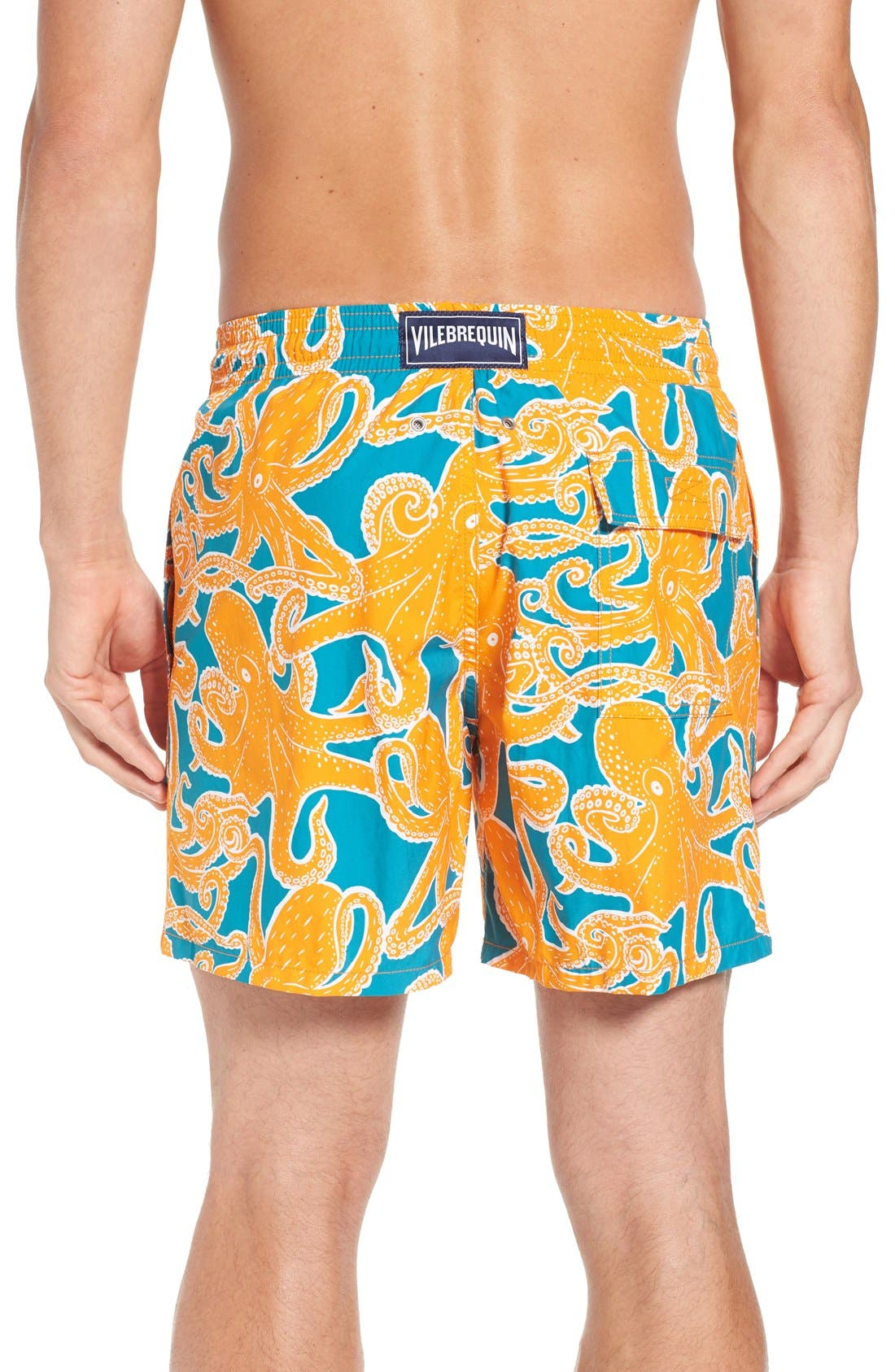 Octopus Print Swim Trunks,                             Alternate thumbnail 2, color,                             Kumquat