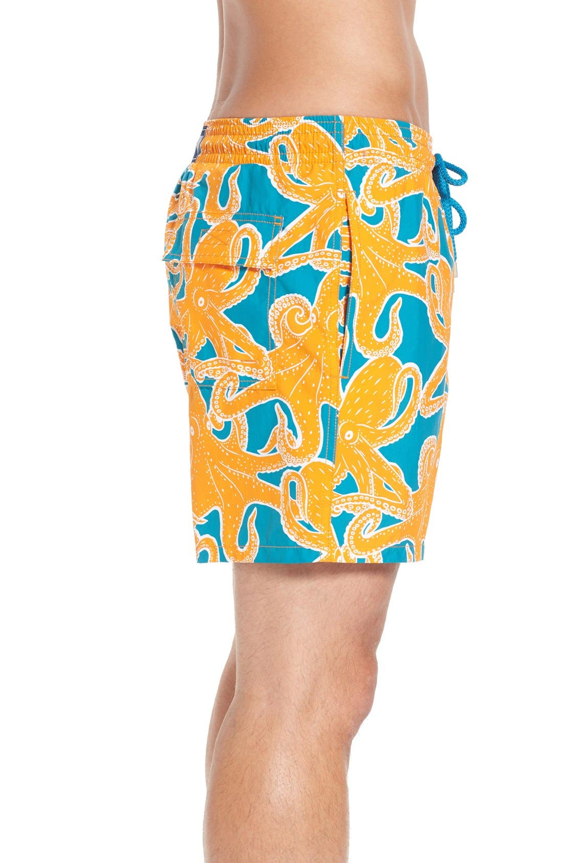 Octopus Print Swim Trunks,                             Alternate thumbnail 3, color,                             Kumquat
