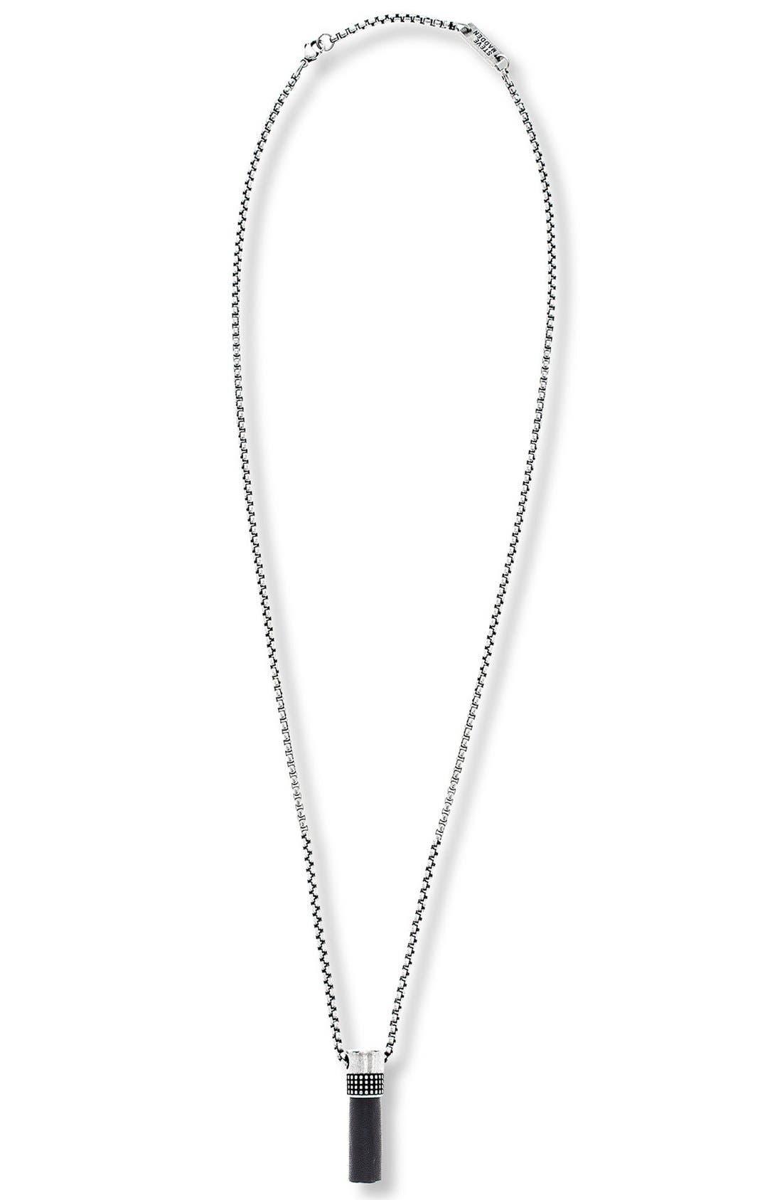 Cylinder Pendant Necklace,                         Main,                         color, Black