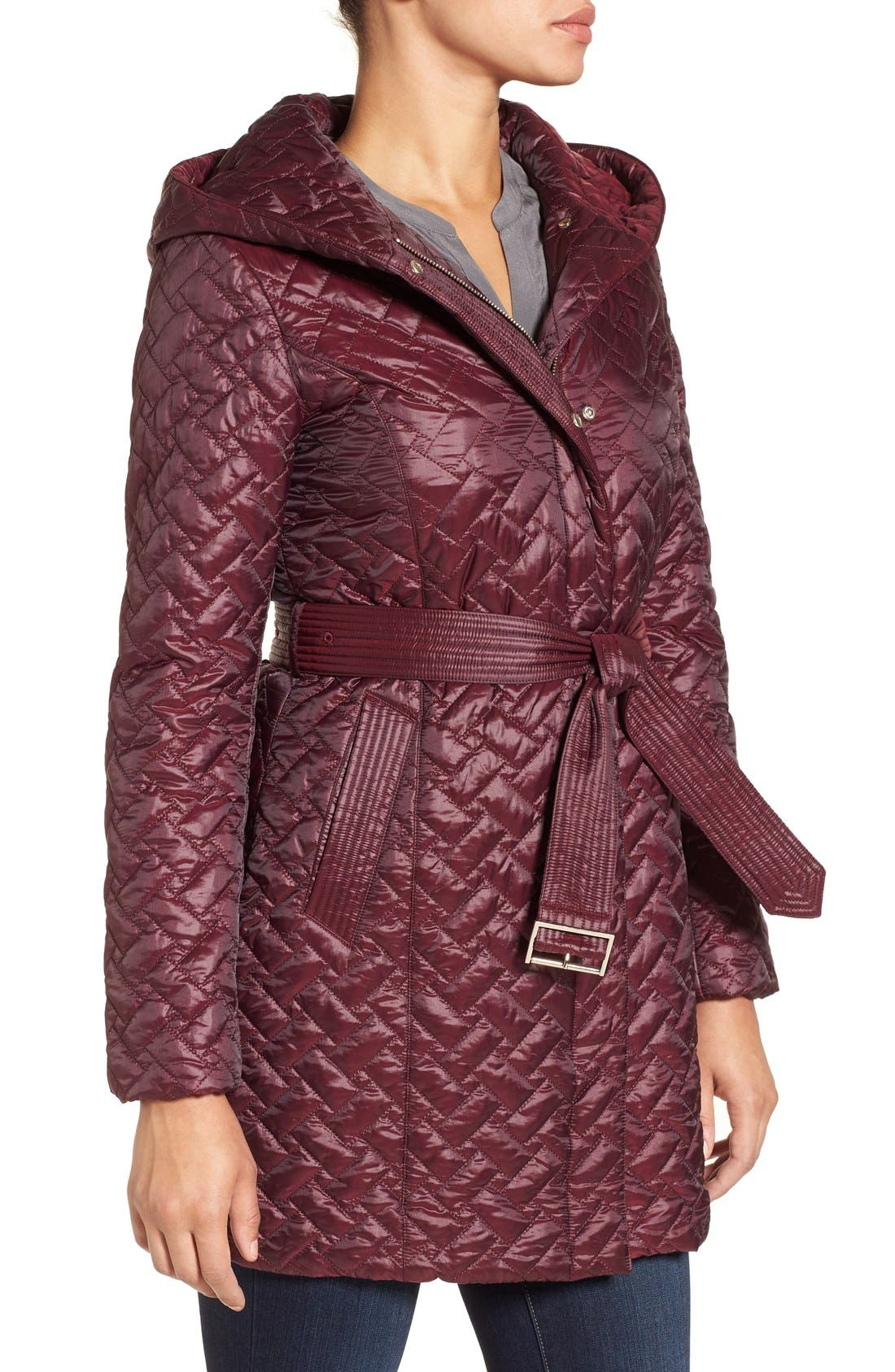 'Thermore' Water Repellent Quilted Coat,                             Alternate thumbnail 3, color,                             Cabernet