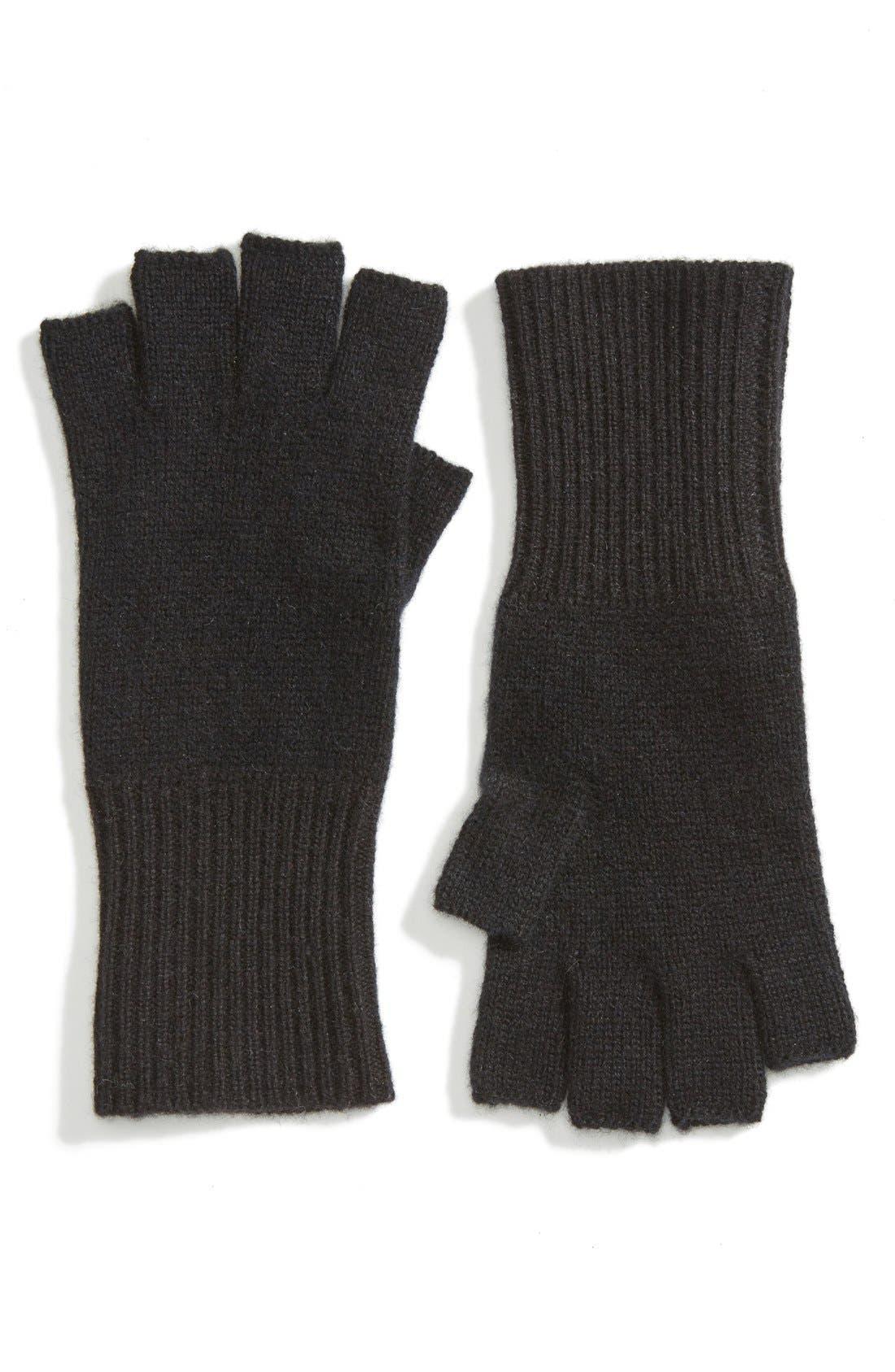 Cashmere Fingerless Gloves,                             Main thumbnail 1, color,                             Black