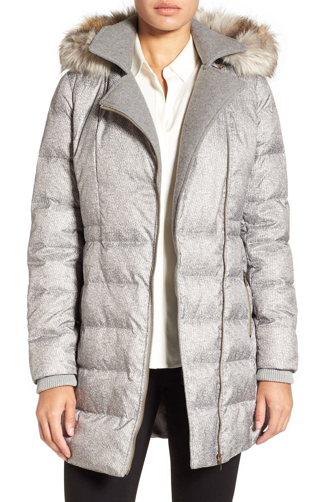 Main Image - Catherine Catherine Malandrino Print Quilted Coat with Faux Fur Trim