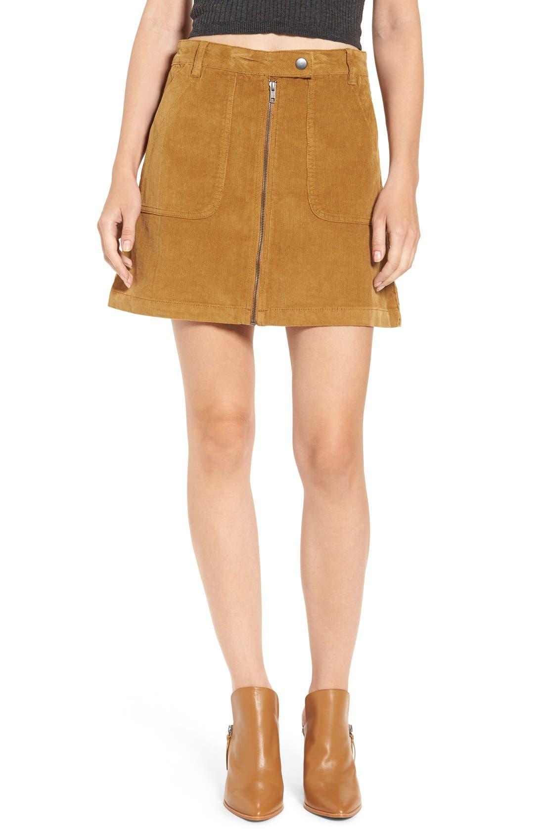 A-Line Corduroy Skirt,                         Main,                         color, Tan Sahara