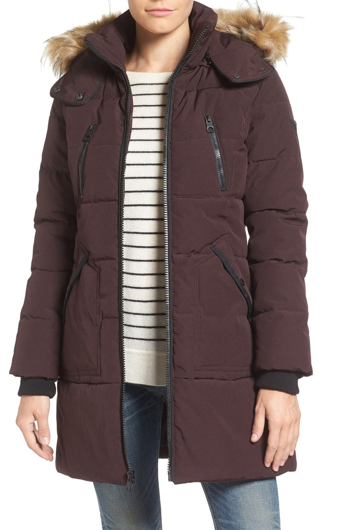 GUESS 'Expedition' Quilted Parka with Faux Fur Trim