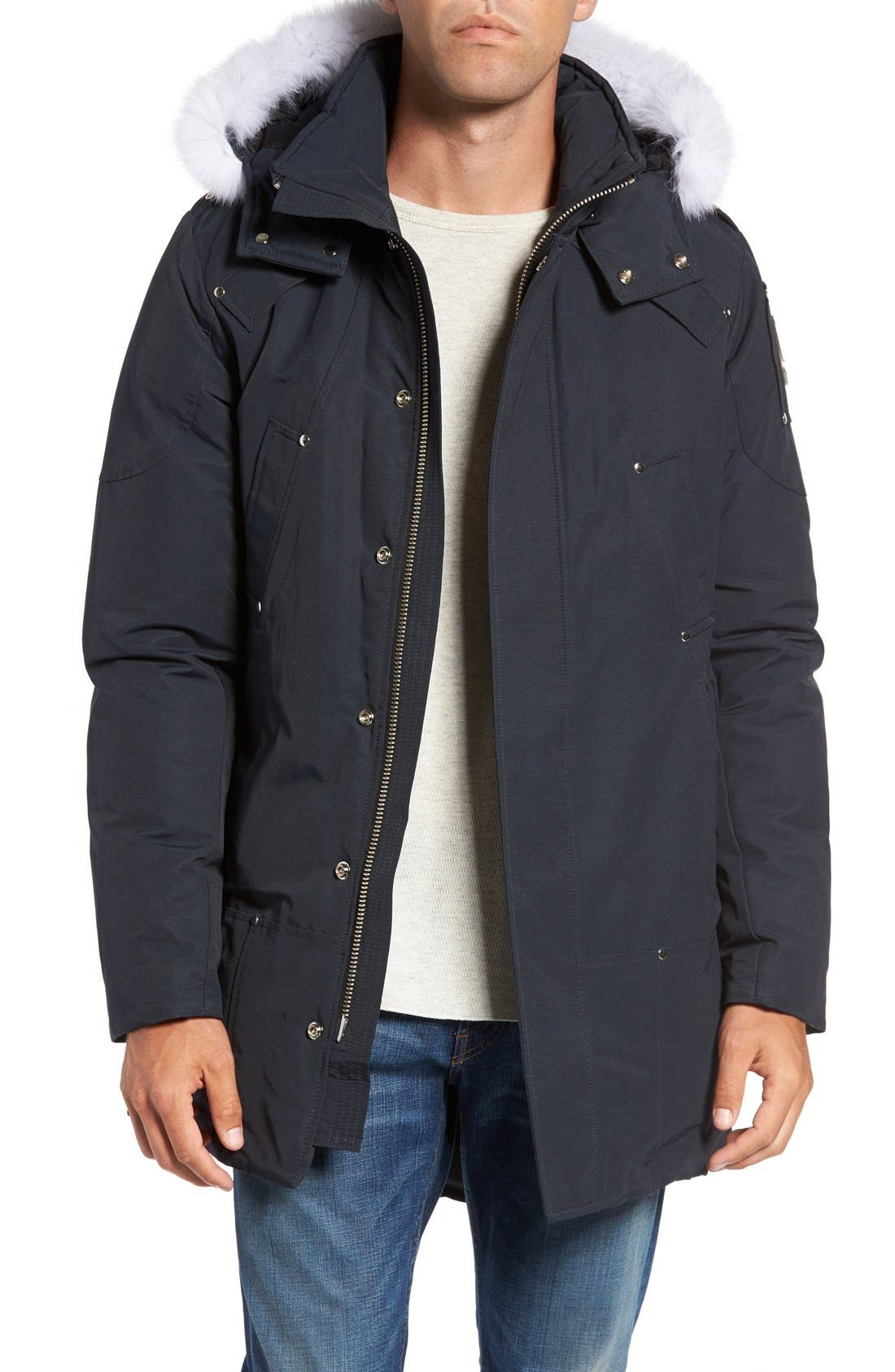 Stirling Water Repellent Down Parka with Genuine Fox Fur Trim,                         Main,                         color, Dark Navy